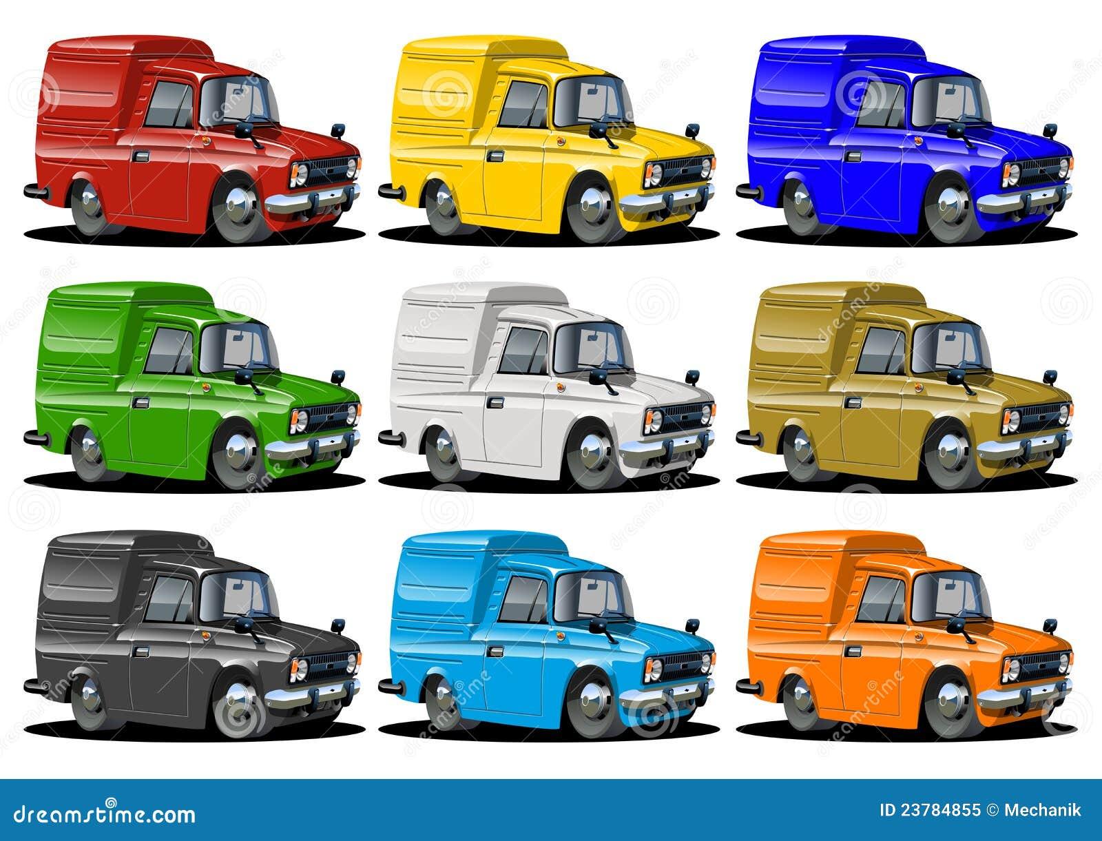 Camionnettes de livraison de dessin animé réglées