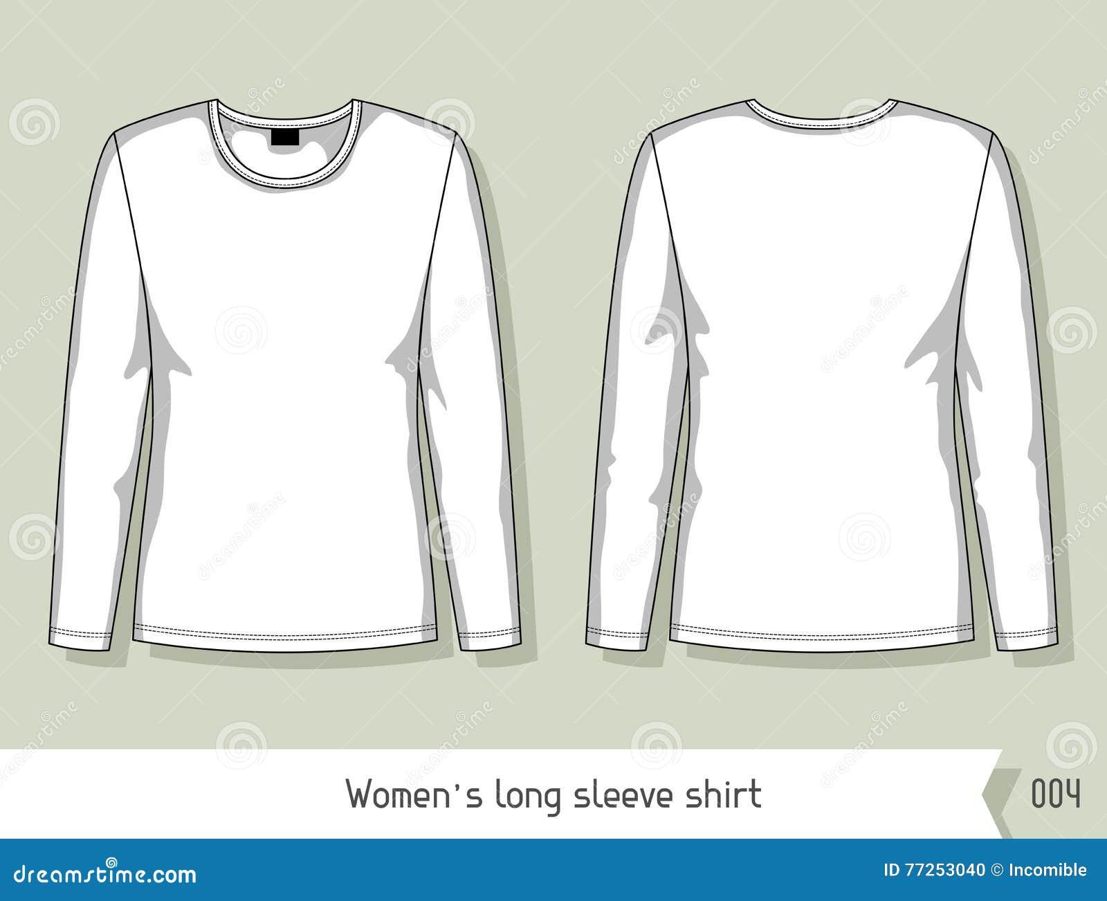 Camisa De Manga Larga De Las Mujeres Plantilla Para El Diseño ...