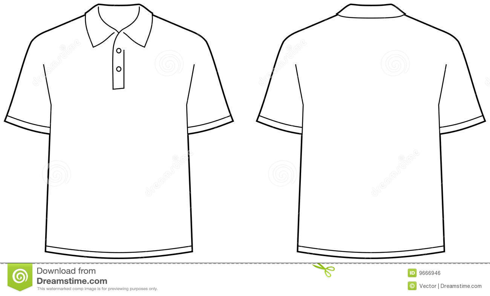 Camisa de polo - fronteie e vista traseira isolada
