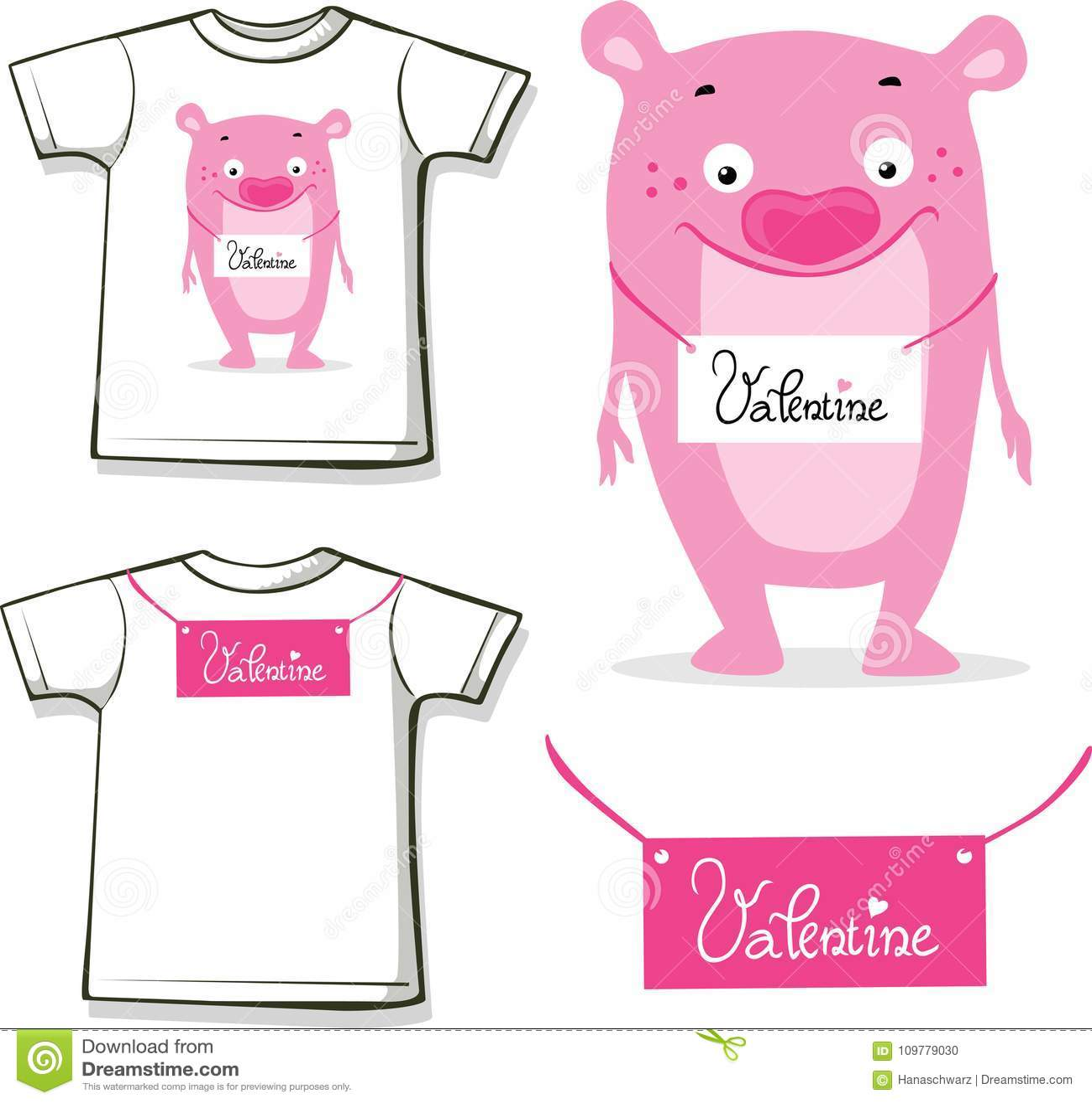 Camisa divertida de la tarjeta del día de San Valentín con diseño rosado del vector del peluche del monstruo impresa