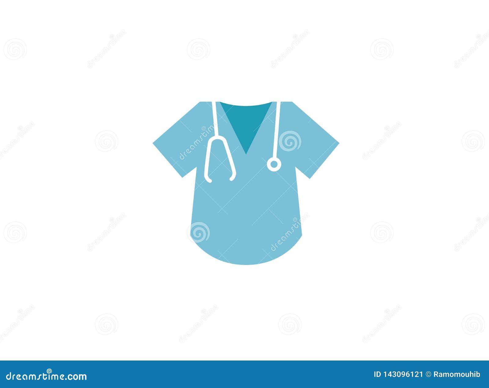 Camisa e estetoscópio do doutor para o exame da frequência cardíaca para o projeto do logotipo