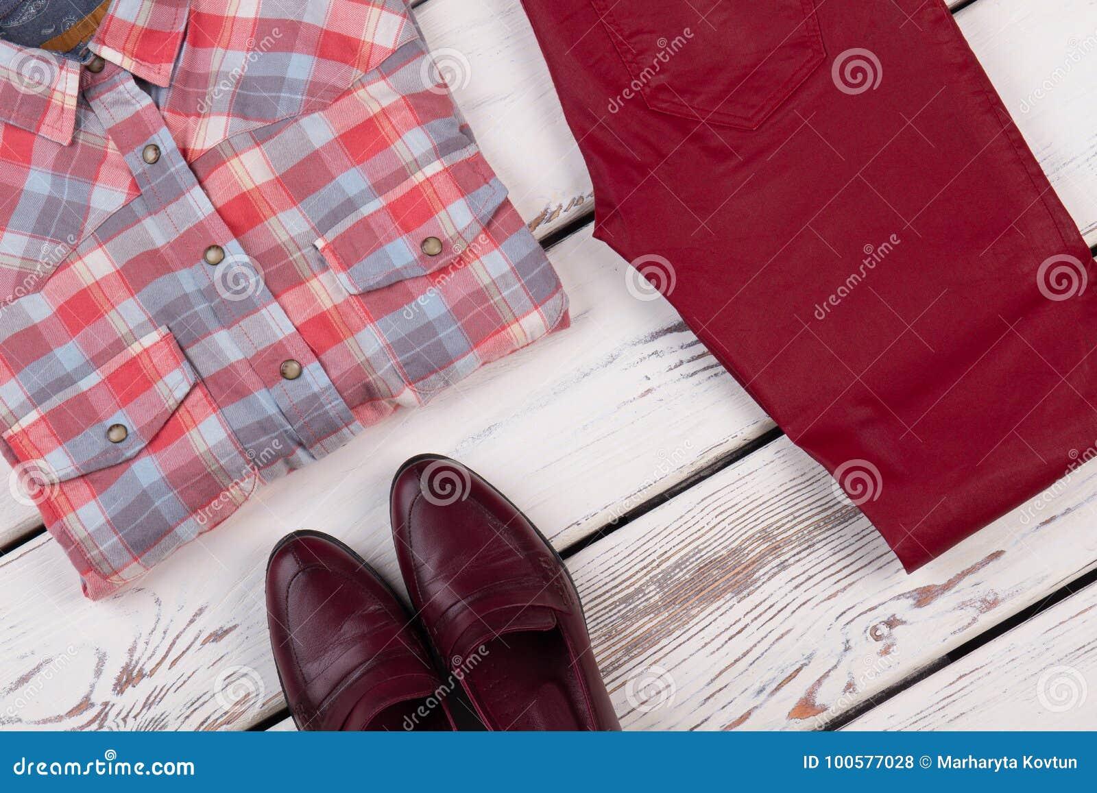 Escocesa Y Zapatos De Pantalones Foto Tela Archivo Camisa x4qBXSn