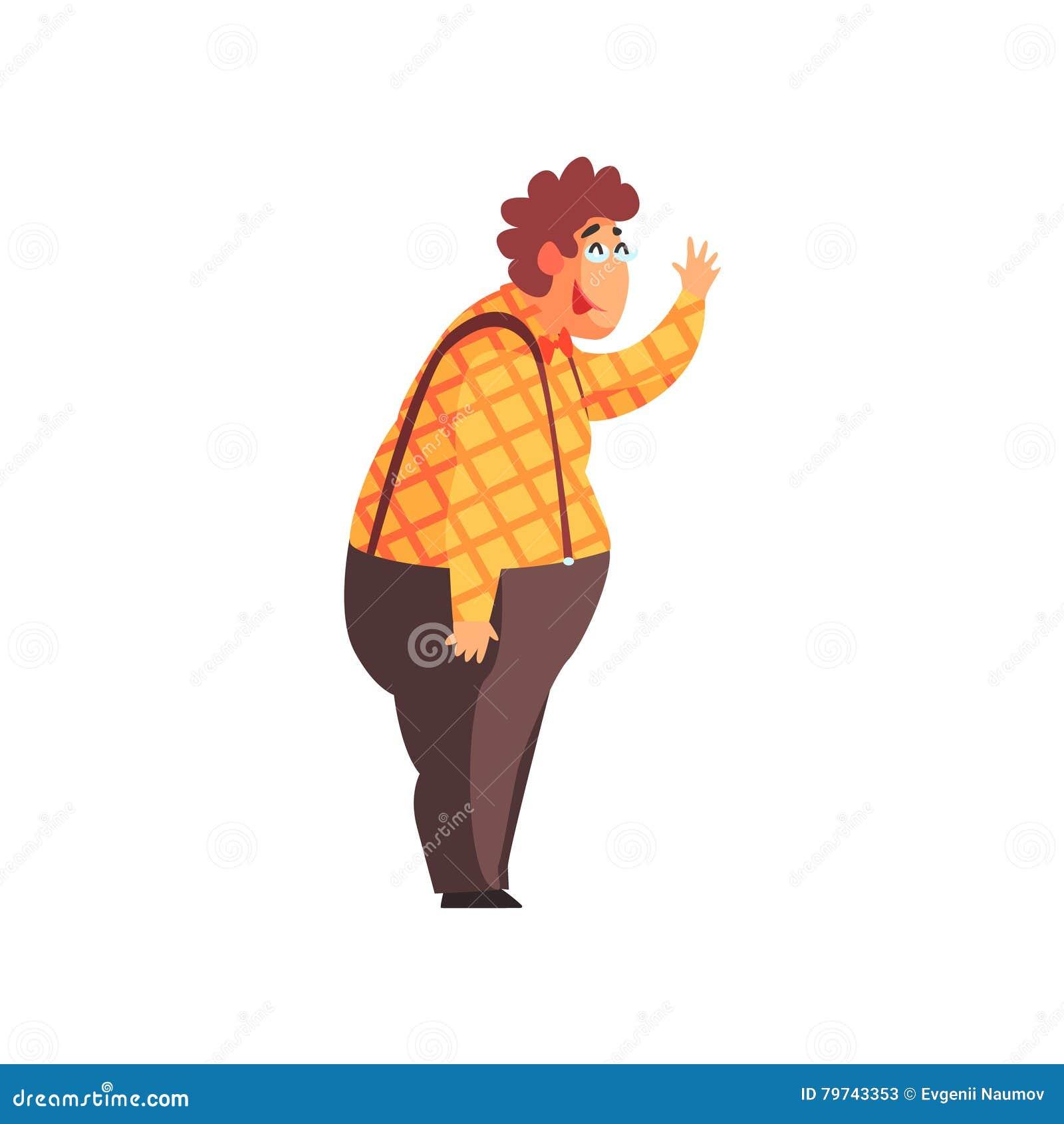 Camisa y ligas llamativas de Guy Character In Checked Orange del fanfarrón