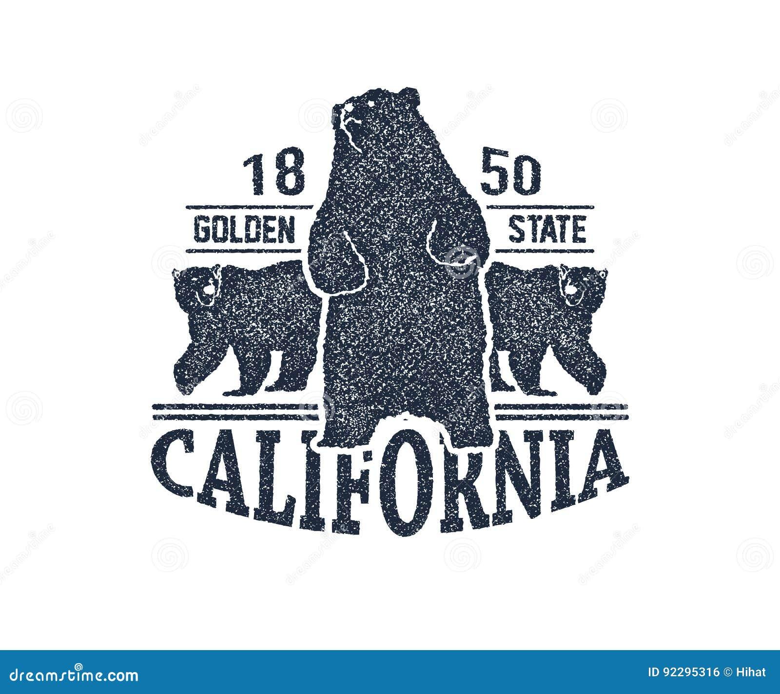 Camiseta De California Con El Oso Grizzly Ilustración del Vector ...