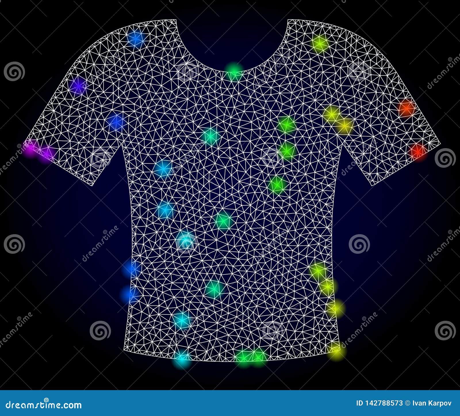 2.a camiseta de la malla del vector con los puntos coloreados arco iris del resplandor