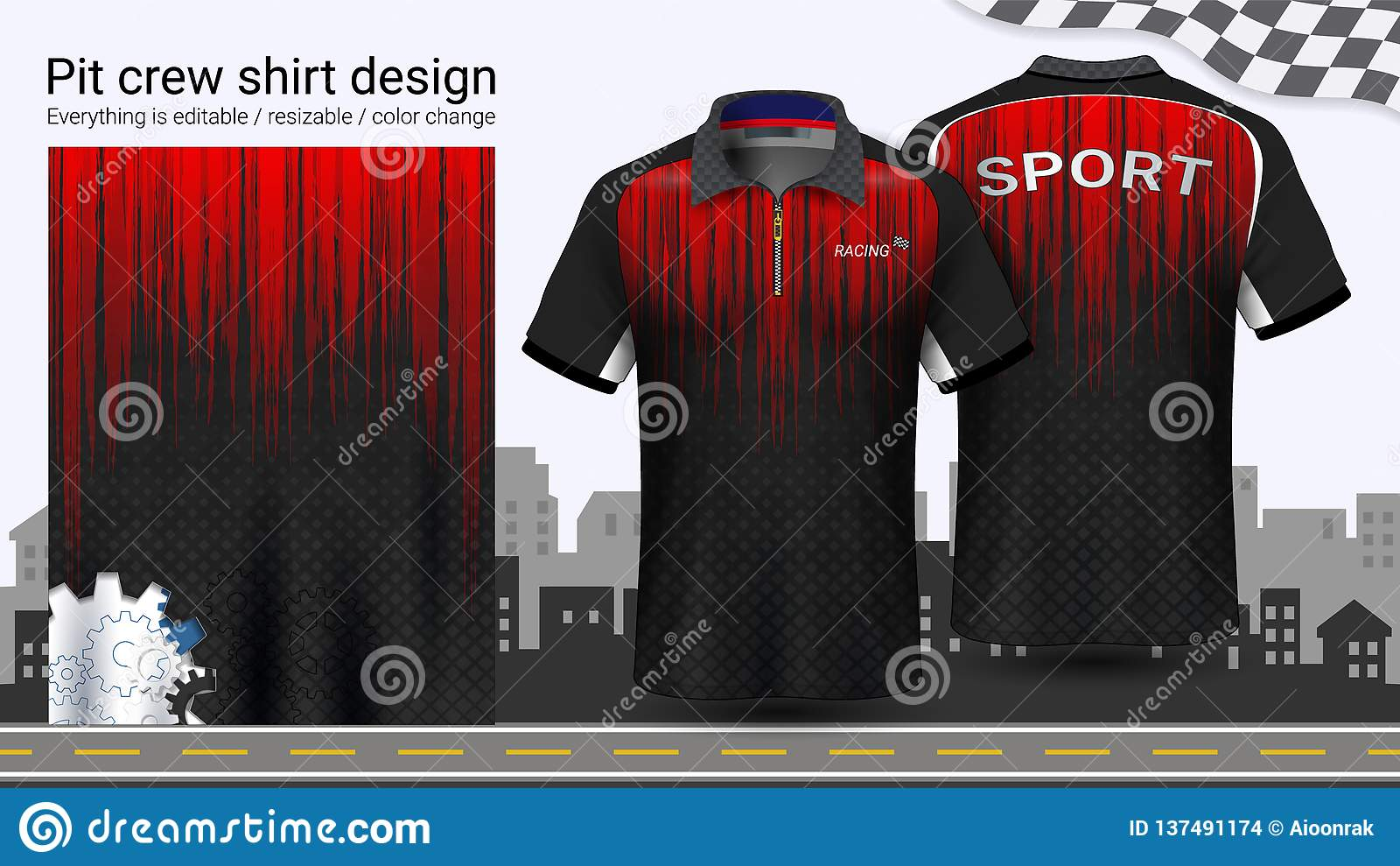 Camiseta del polo con la cremallera, compitiendo con la plantilla de la maqueta de los uniformes para el desgaste activo y la rop