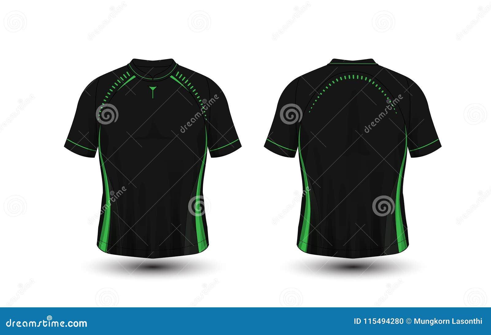 Camiseta negra y verde del deporte del fútbol de la disposición, equipos, jersey, plantilla del diseño de la camisa