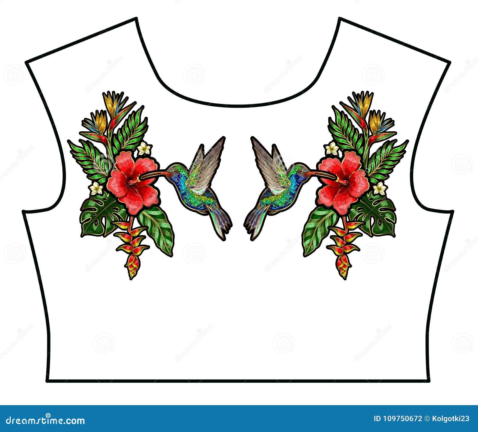 Camiseta Tropical Del Diseño De Los Remiendos Del Bordado De Los ...