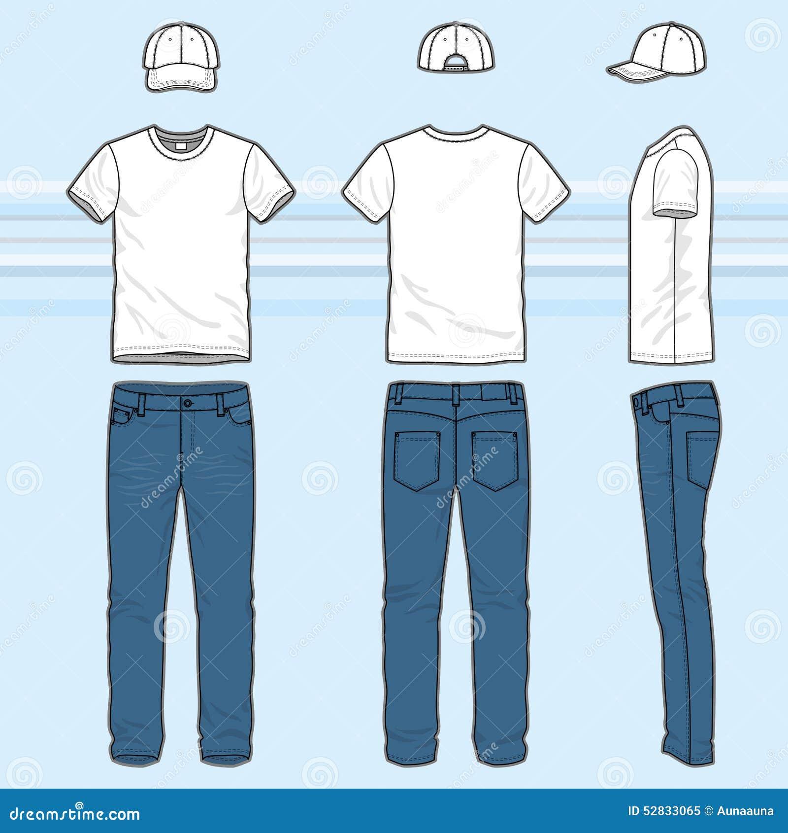502b0478c Afronte, traseras y laterales las vistas del sistema de la ropa de los hombres  Plantillas en blanco de la camiseta, del casquillo y de los vaqueros Estilo  ...