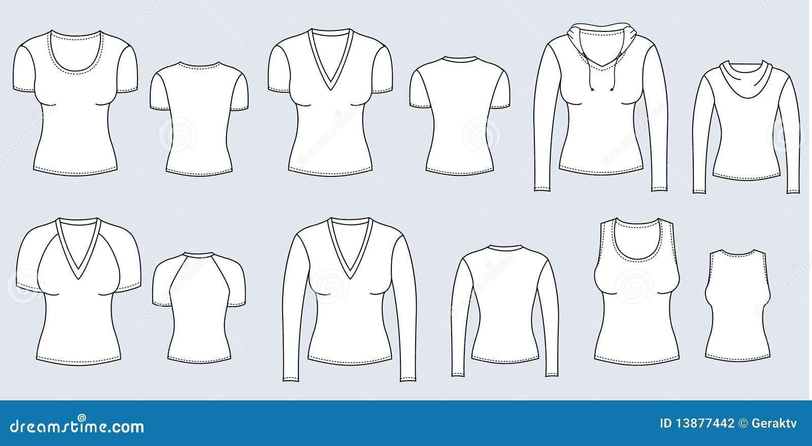 Camisetas y blusas. Ropa del vector para las mujeres