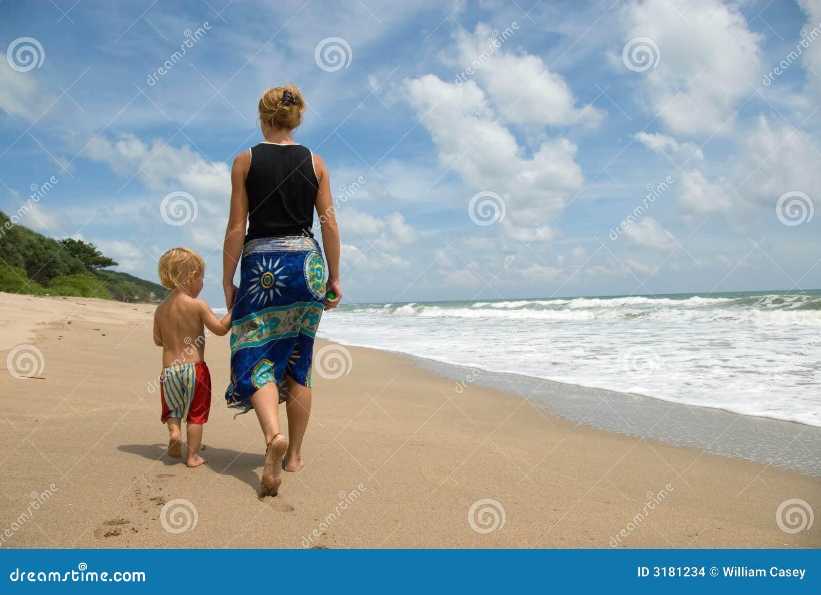 Camminando lungo la spiaggia