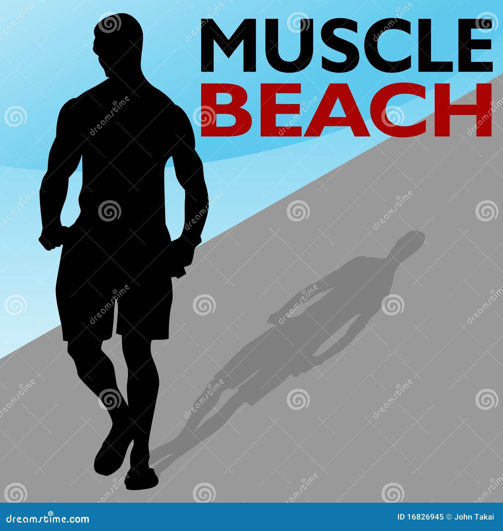 Camminare dell uomo della spiaggia del muscolo