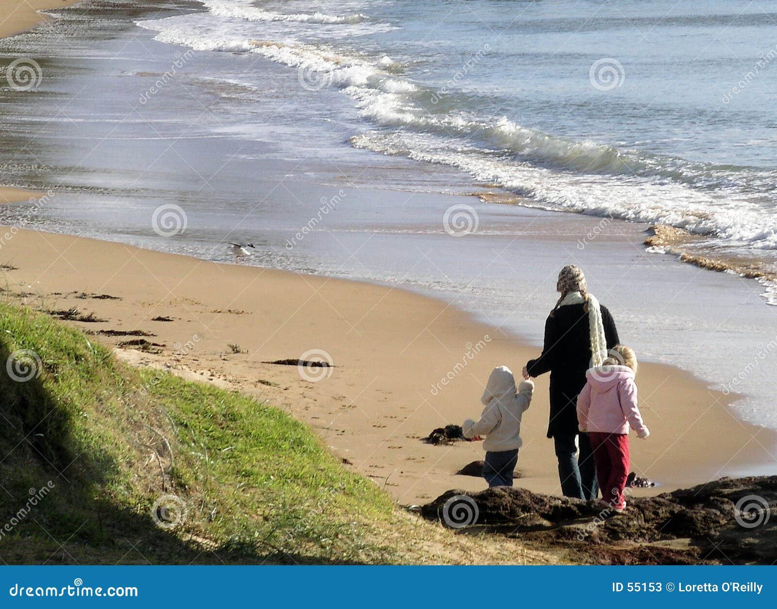 Download Camminata Della Spiaggia Di Inverno Immagine Stock - Immagine di freddo, bambini: 55153