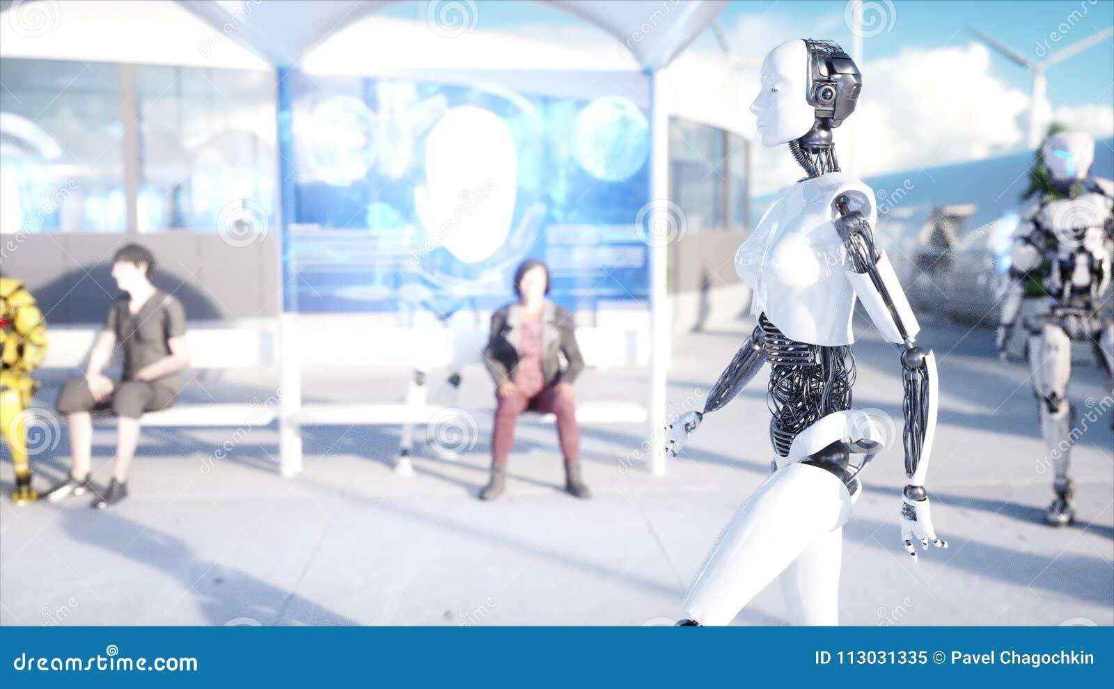 Camminata femminile del robot Stazione di Sci fi Trasporto futuristico della monorotaia Concetto di futuro La gente e robot rappr