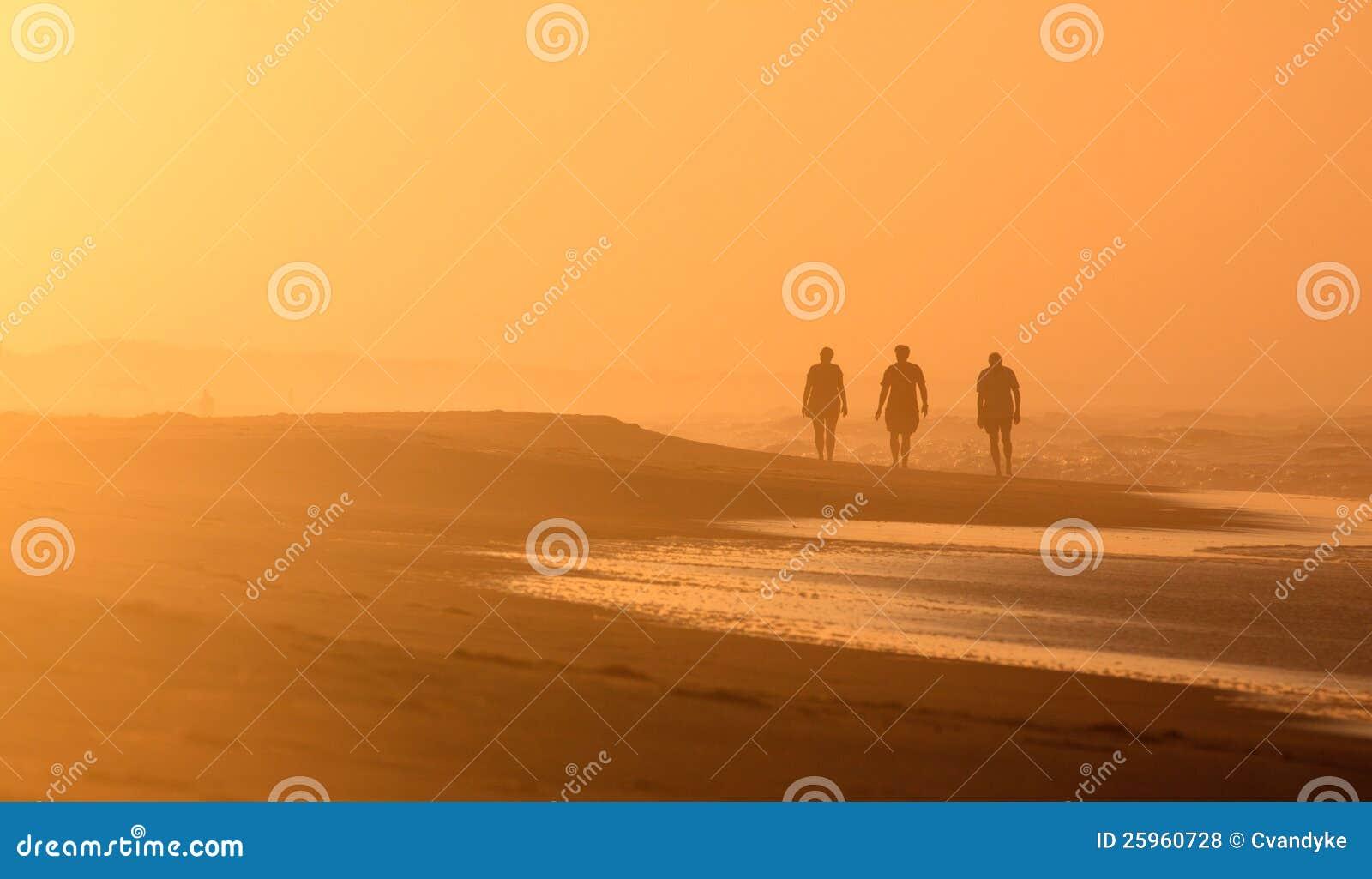 Camminatori OBX NC di alba proiettati scena della spiaggia