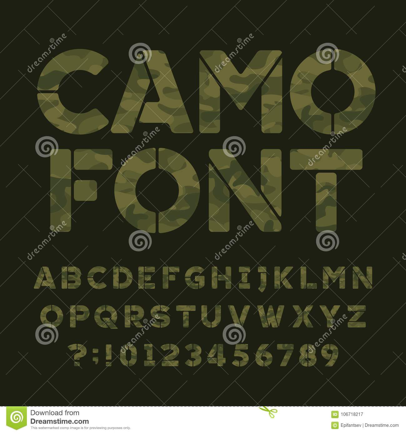 Camo Alphabet Font. Type Letters And Numbers On A Dark