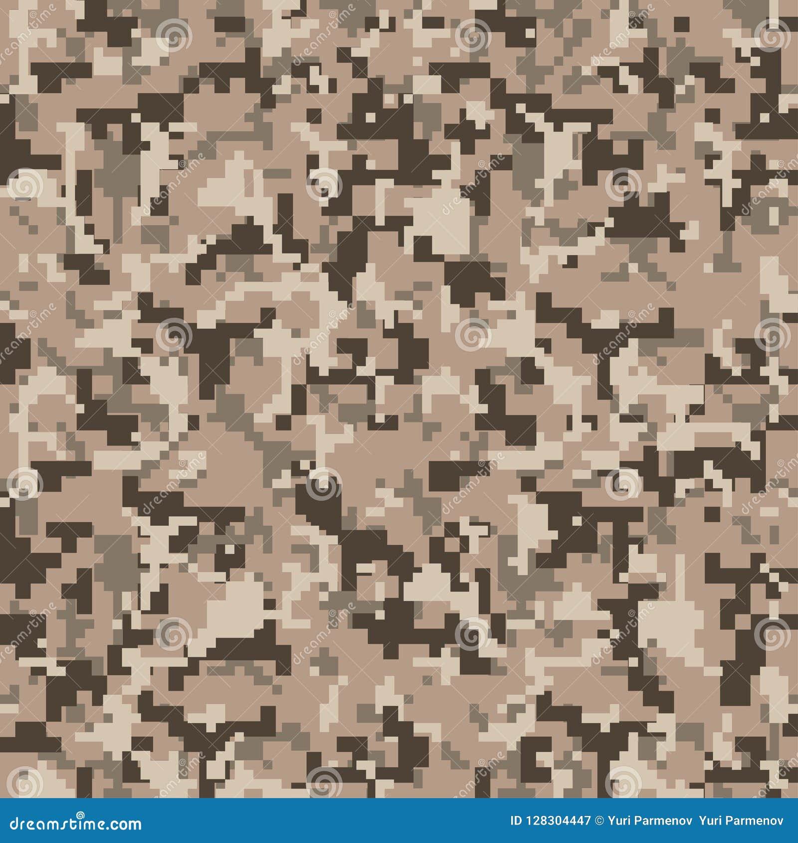 Camo del pixel Modelo inconsútil del camuflaje de Digitaces Los militares texturizan Color del desierto de Brown