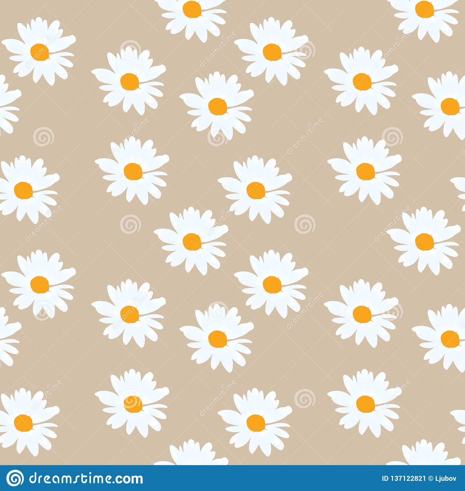 Camomile seamless pattern in vector. Beautiful summer design. Print for fabric, wallpaper stock image