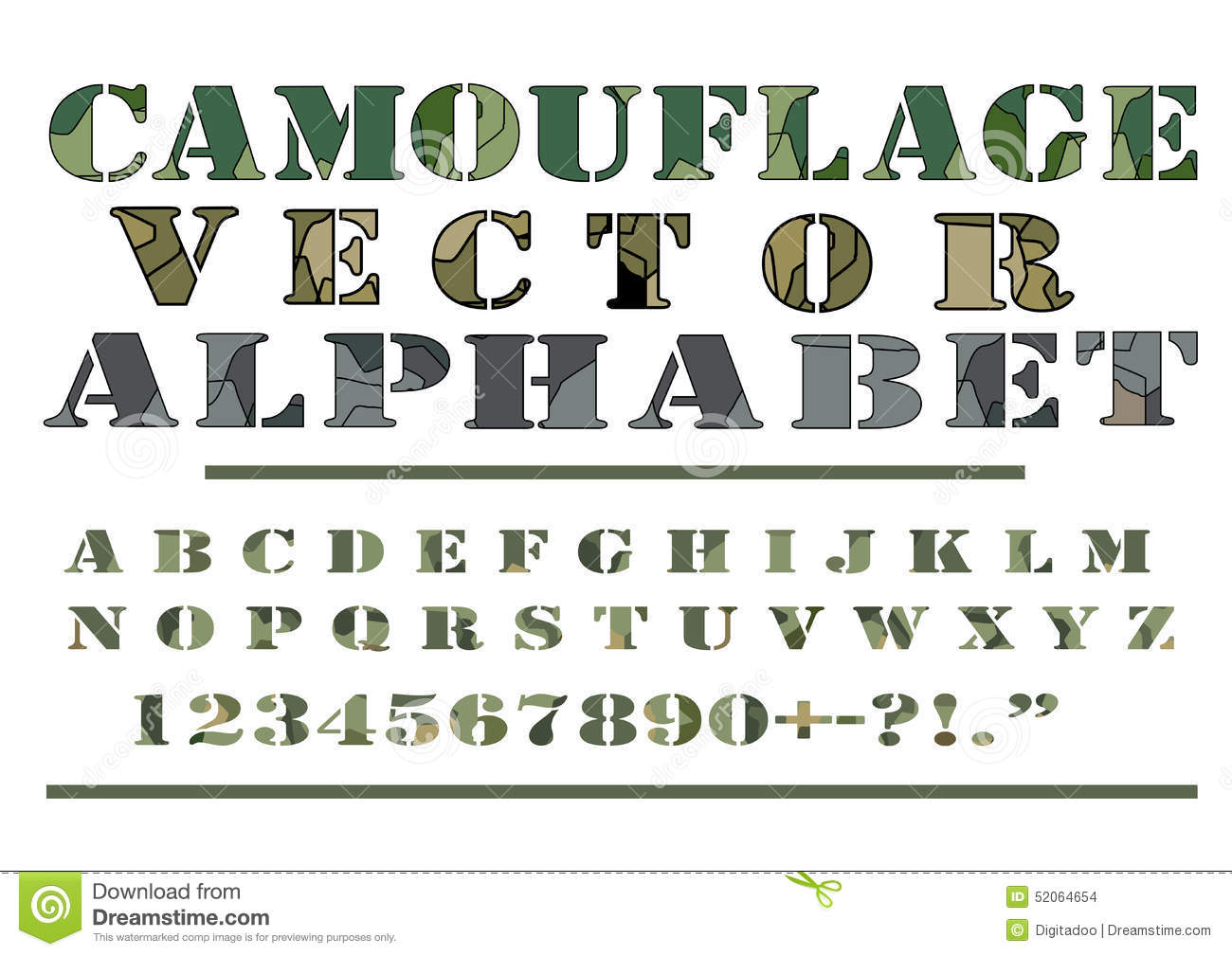 Camouflage Camo Pattern Style Vector Letter Alphabet Font Stock