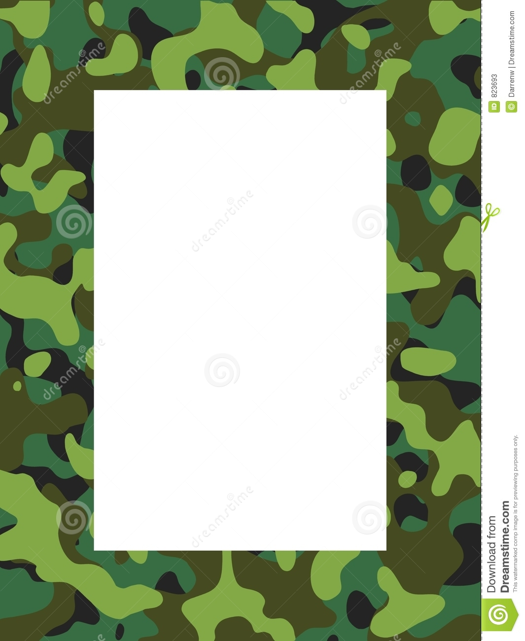 Illustrated camouflage frame,hand drawn, using no filters or plug-ins.