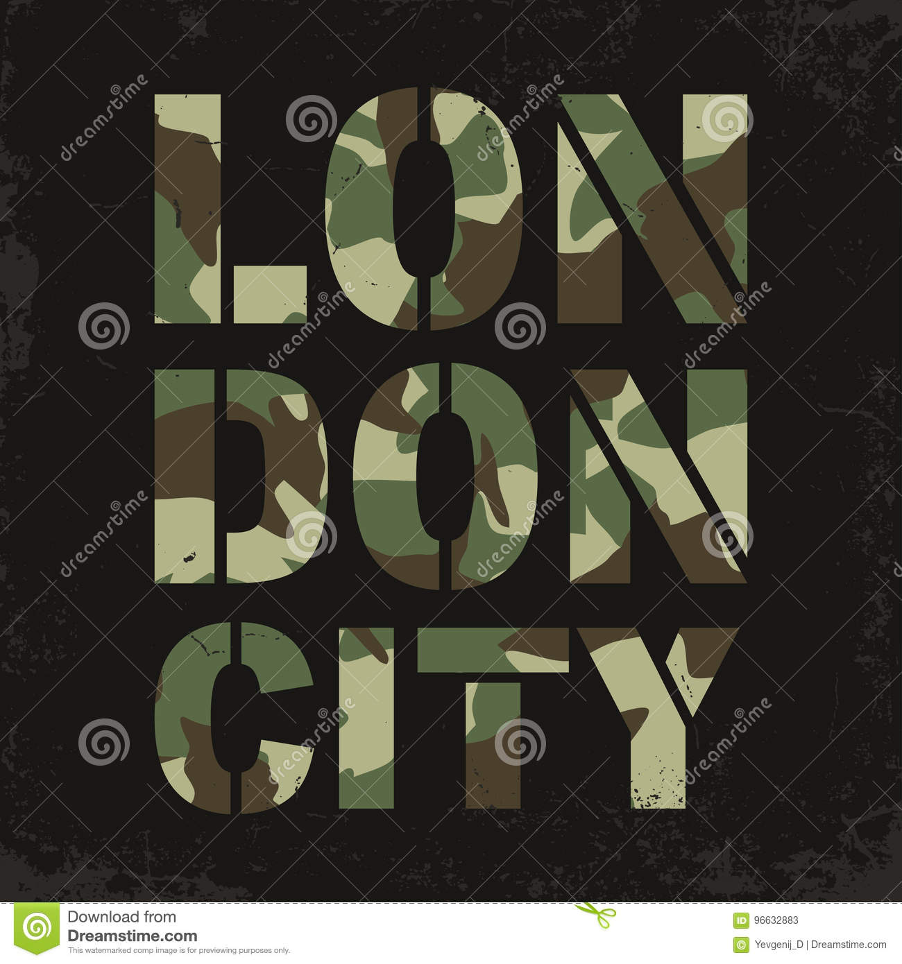 Camouflage Typography For T-shirt Print  London, Varsity, Athletic T