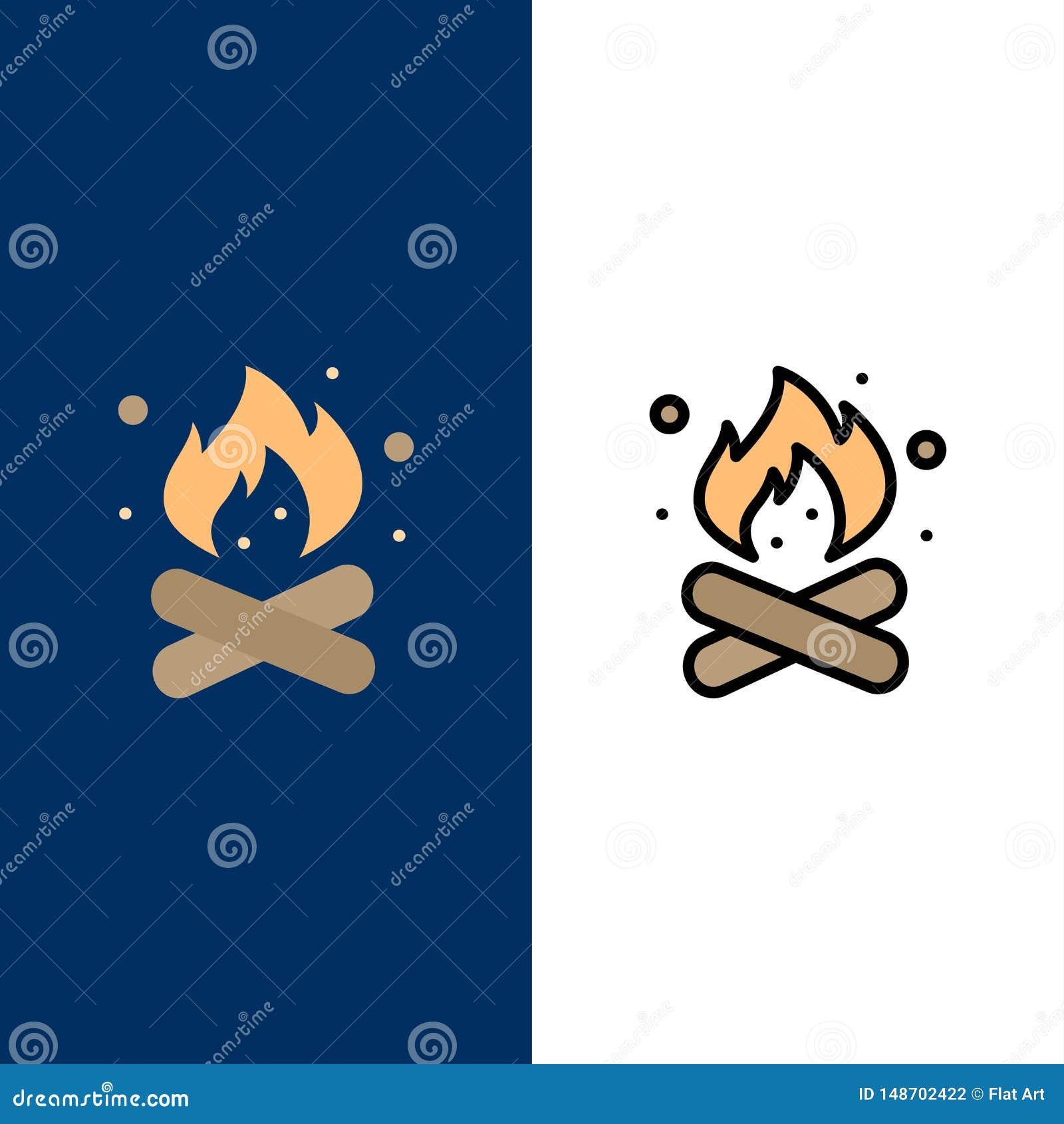 Camp, camping, le feu, chaud, icônes de nature L appartement et la ligne icône remplie ont placé le fond bleu de vecteur