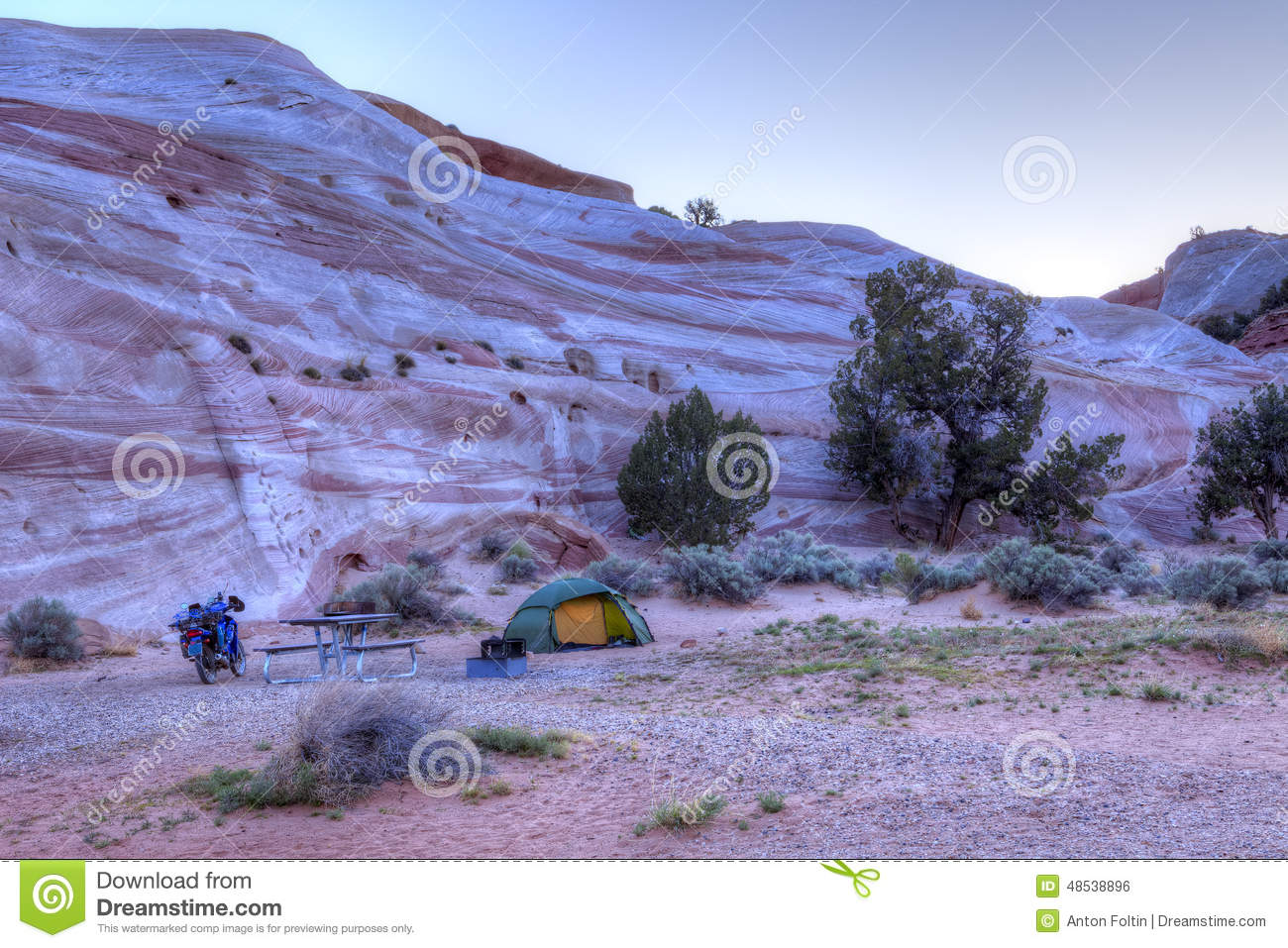 Download Camp stock photo. Image of terrain, sandstone, sunrise - 48538896