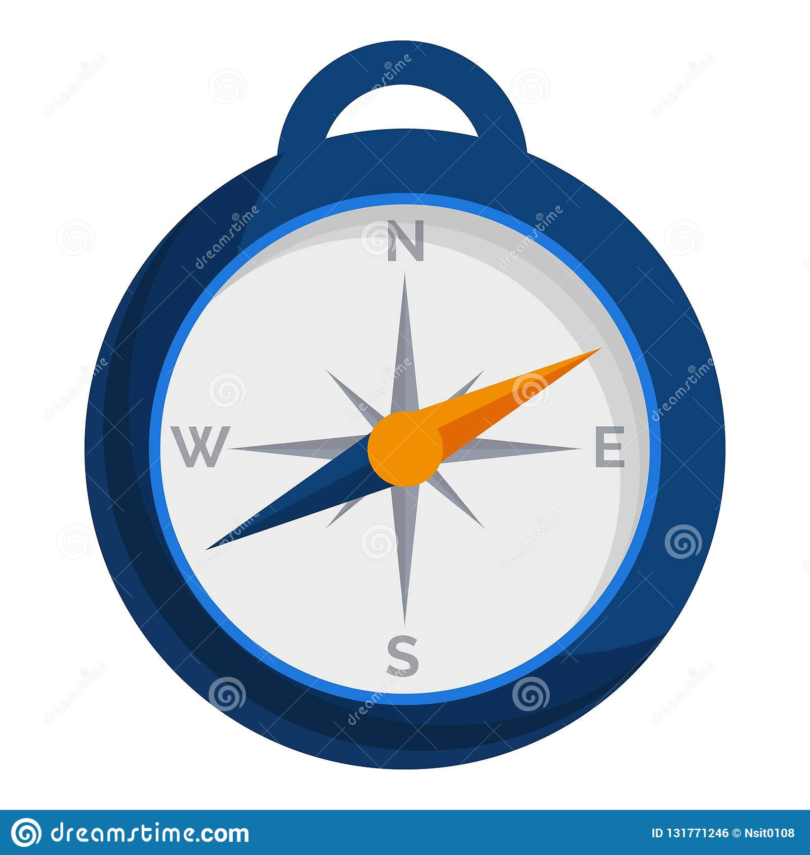 Camp compass icon, cartoon style