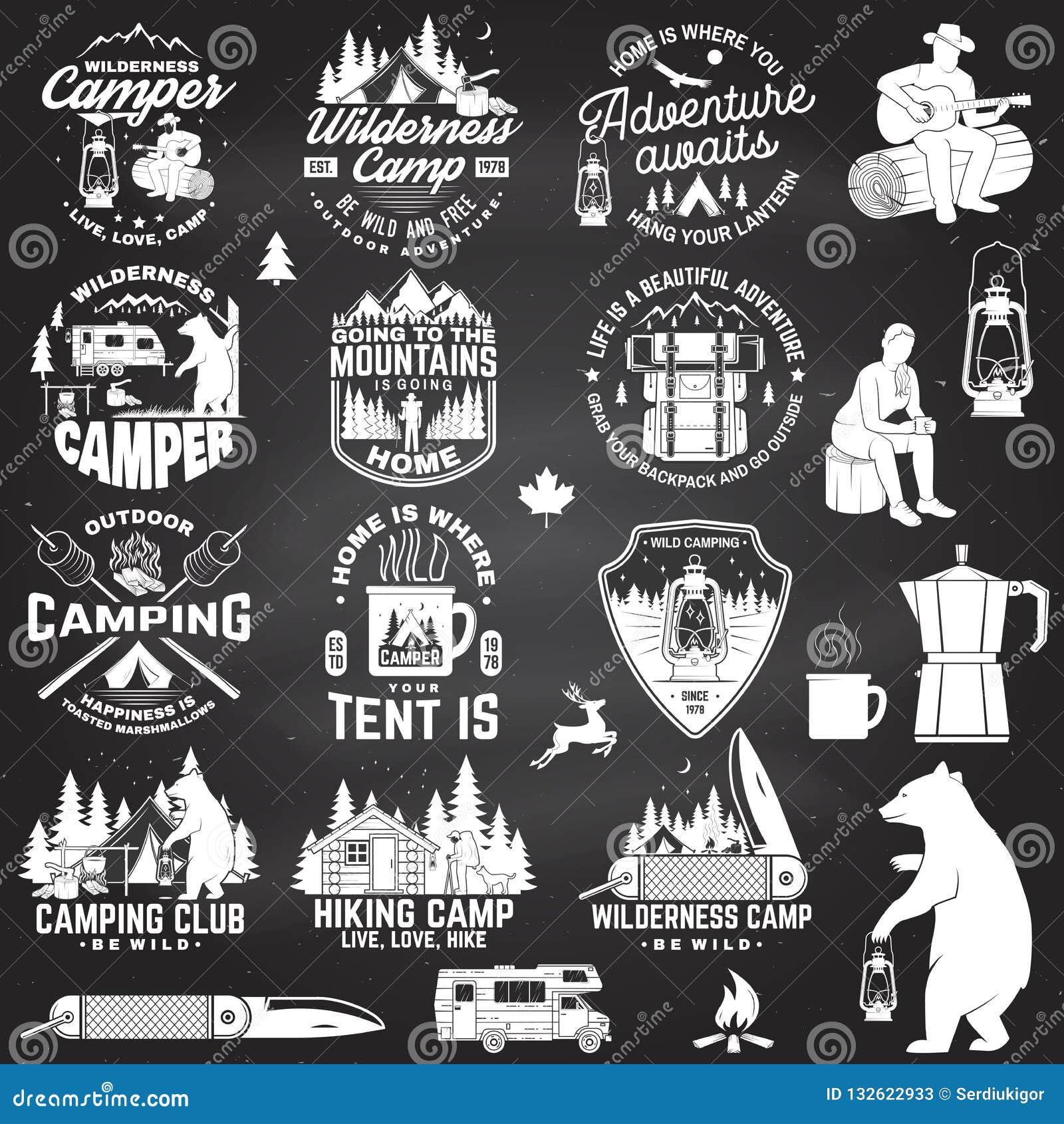 Camp de région sauvage Soyez sauvage et gratuit Vecteur Concept pour l insigne, la chemise ou le logo, copie, timbre, correction