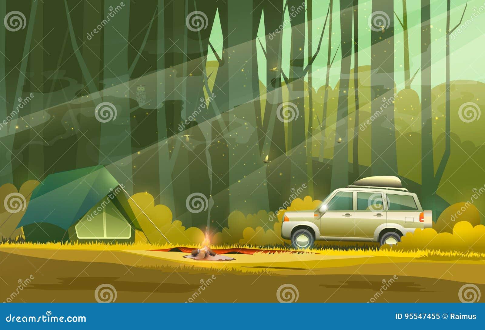 Camp et voiture dans la forêt