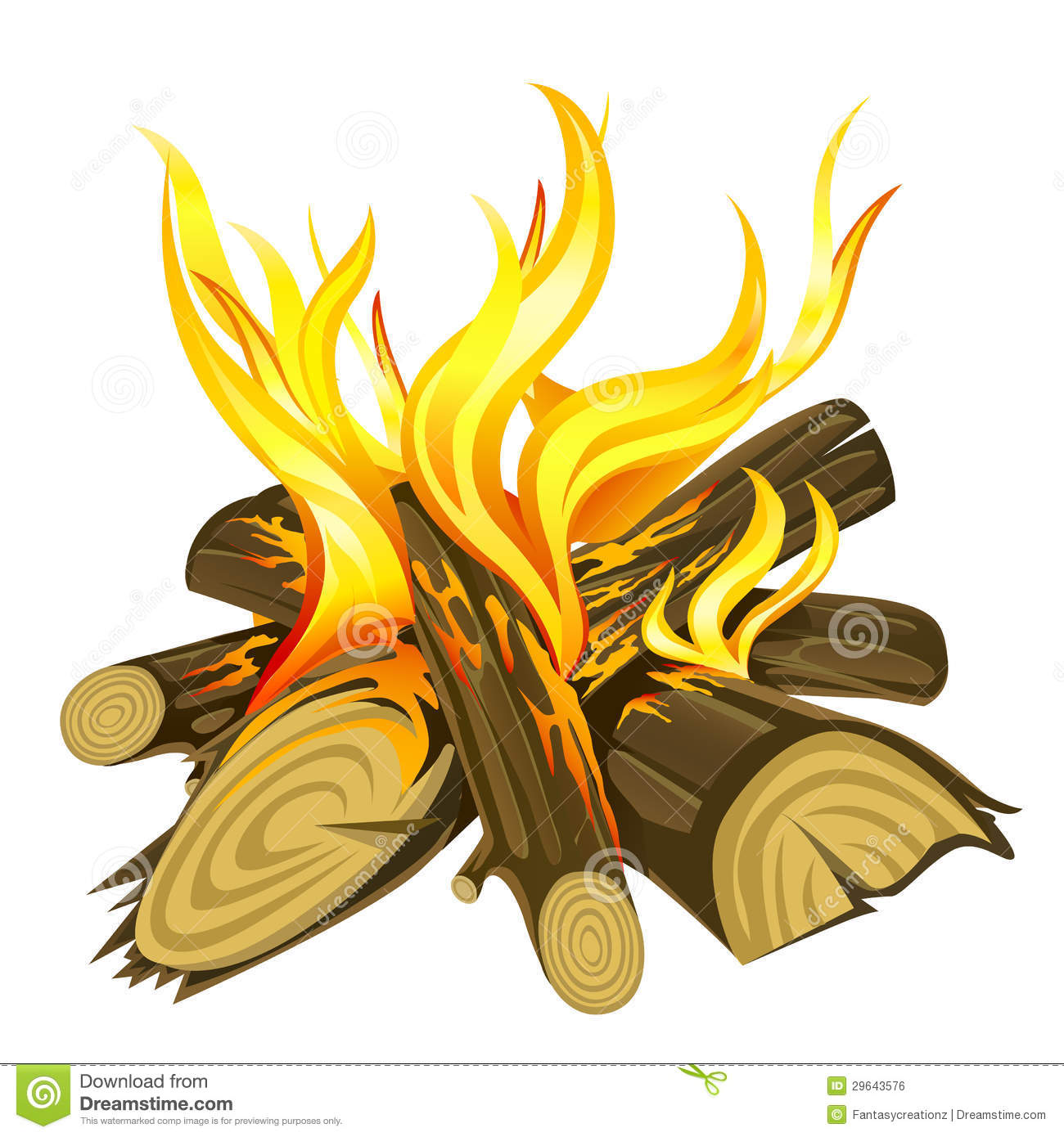 An illustration of a campfire isolated in white background.