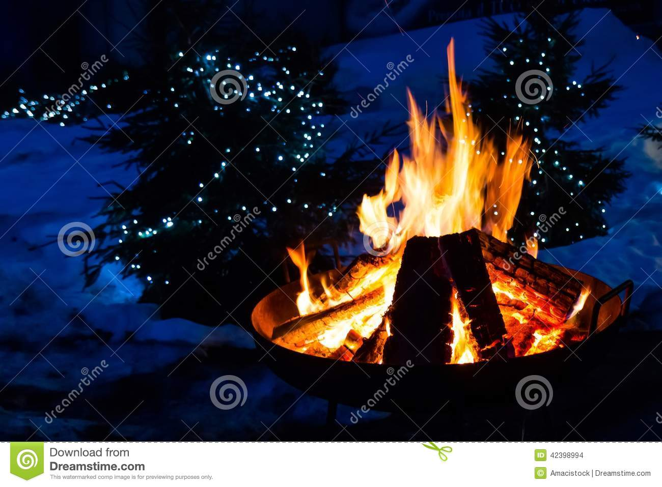 Christmas Lights For Camping.Camp Fire Stock Photo Image Of Camping Nobody Christmas
