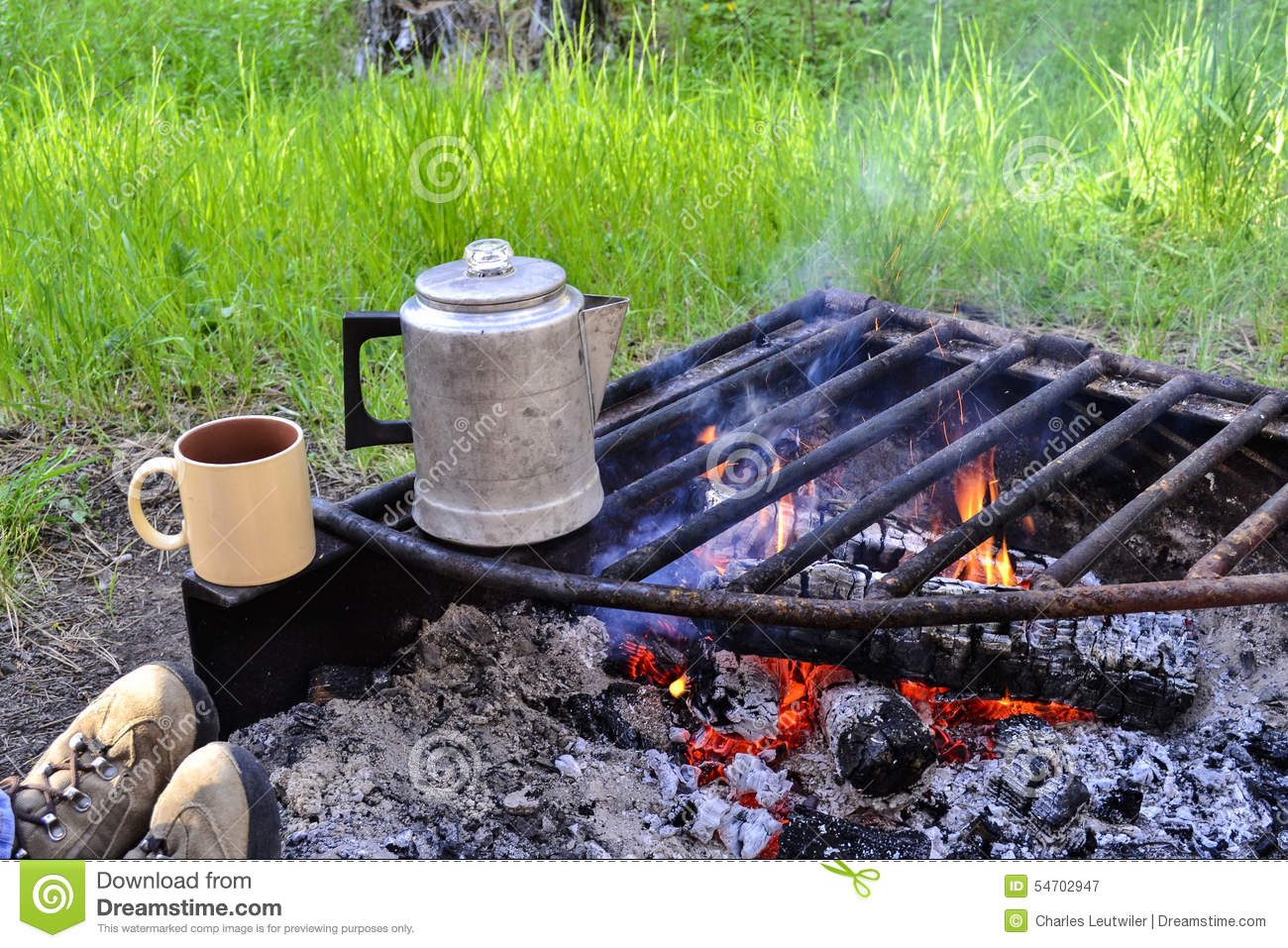 Campfire And Coffee Stock Photo Image 54702947