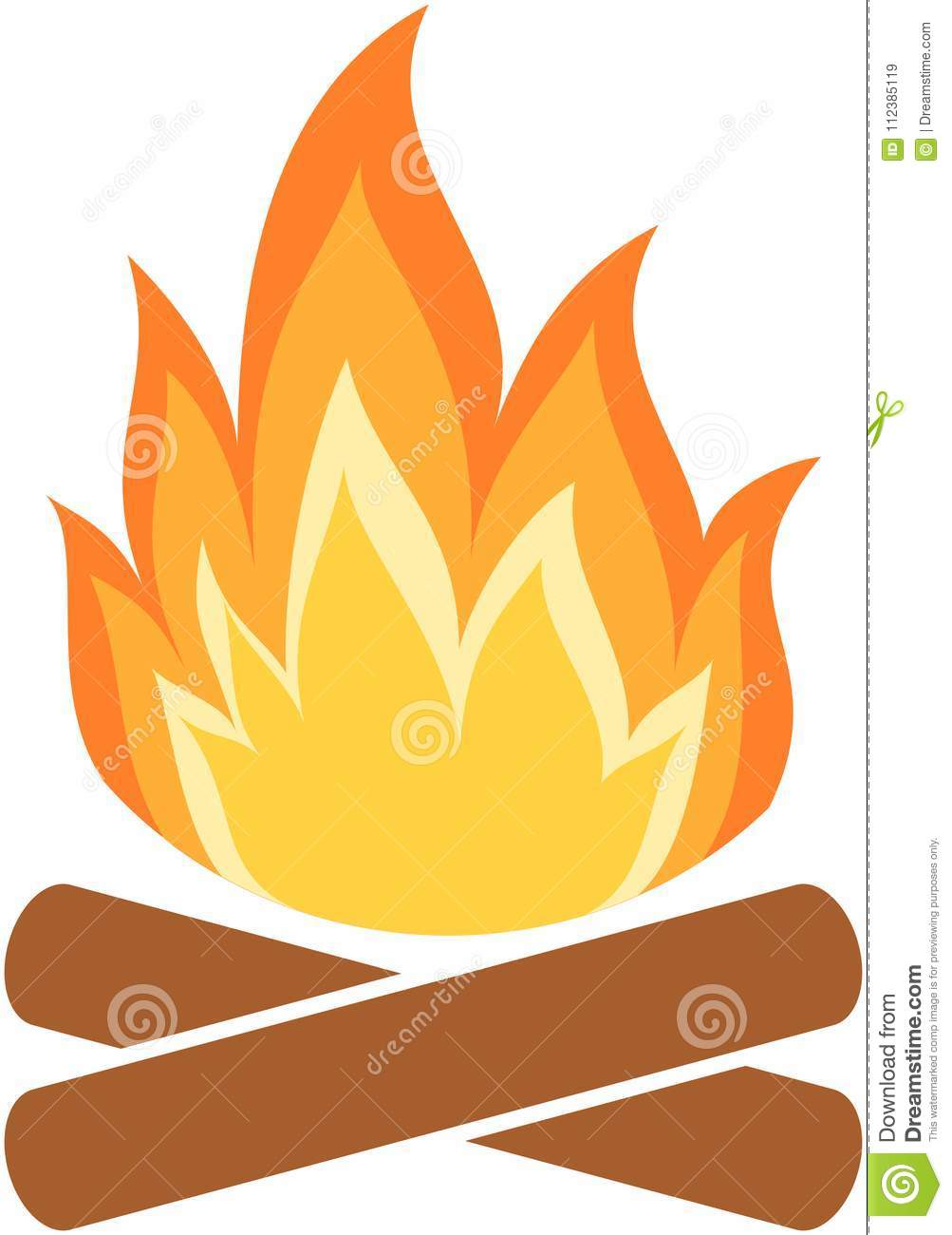 Camp fire icon. Flame.