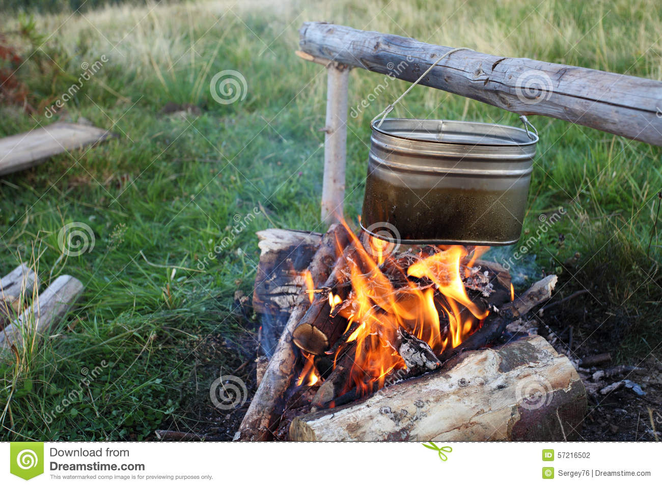 Camp fire and kettle stock photo. Image of black ...