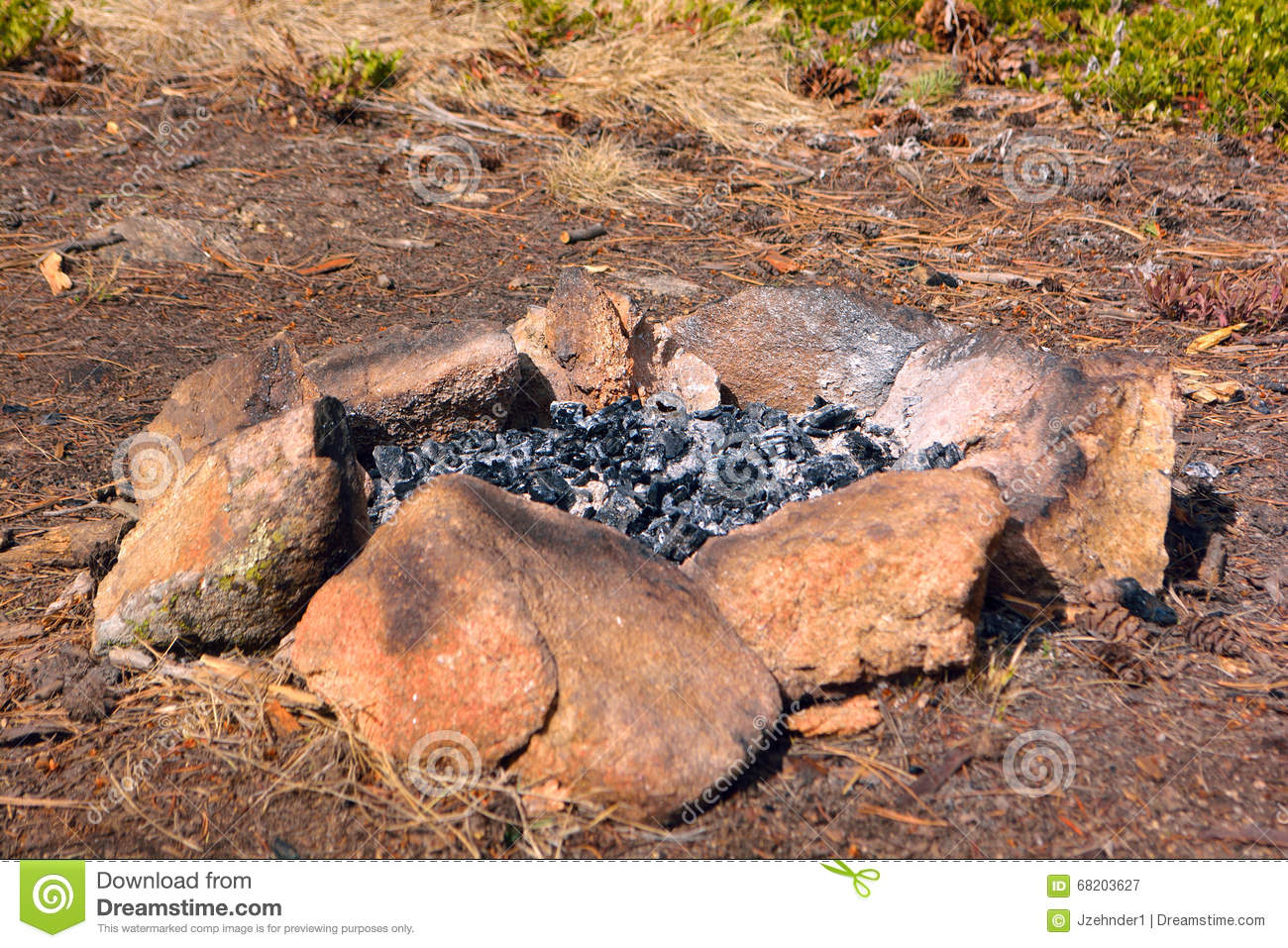Camp Fire Rock Circle With Ash And Burned Wood Stock Photo ...