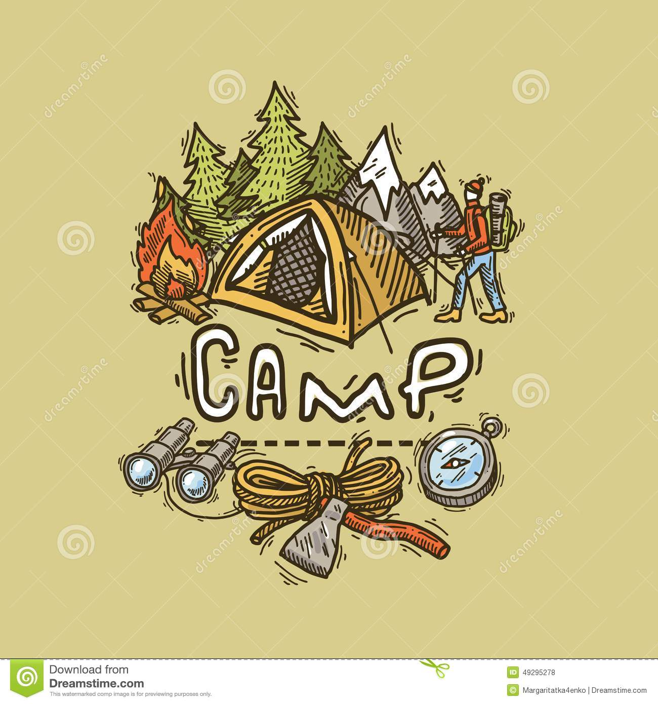 Camp illustration stock vector image 49295278 Camp designs