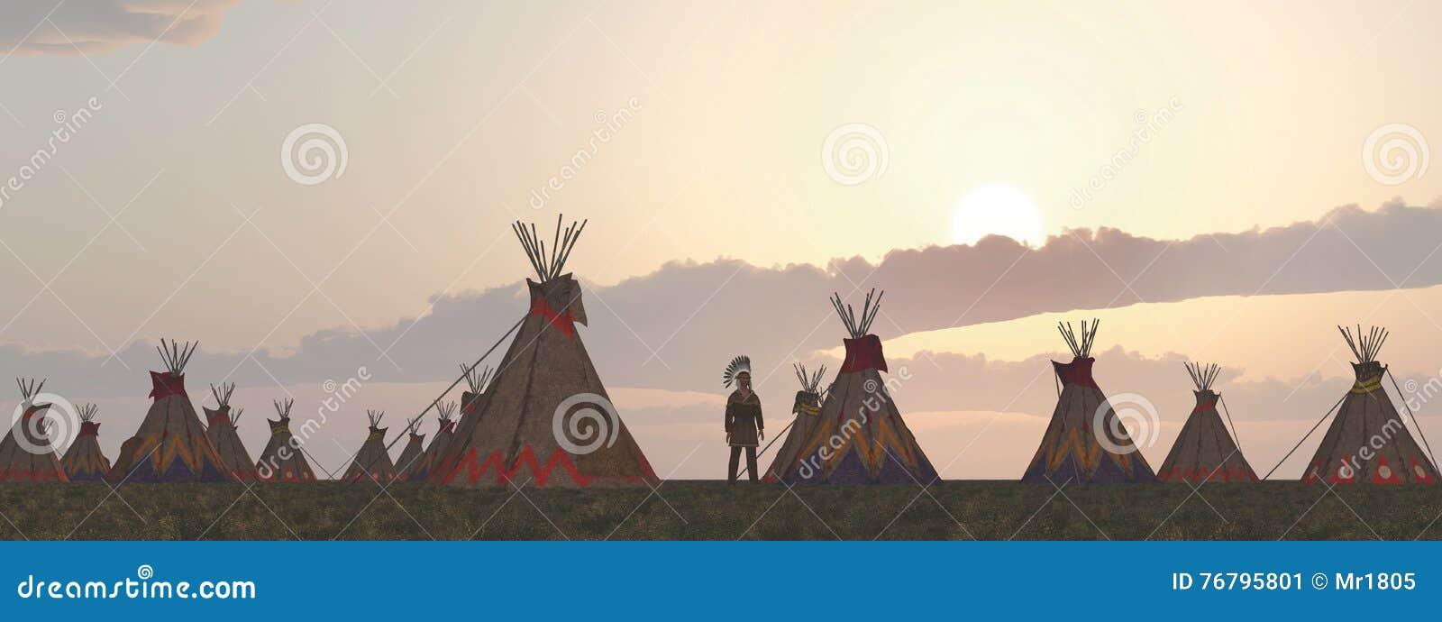 Camp indien au crépuscule