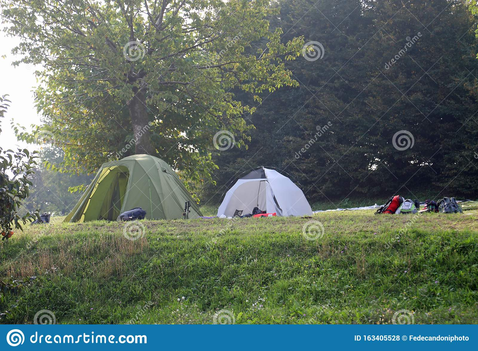 Camp Site With Tents On Summer Stock Photo - Image of ...