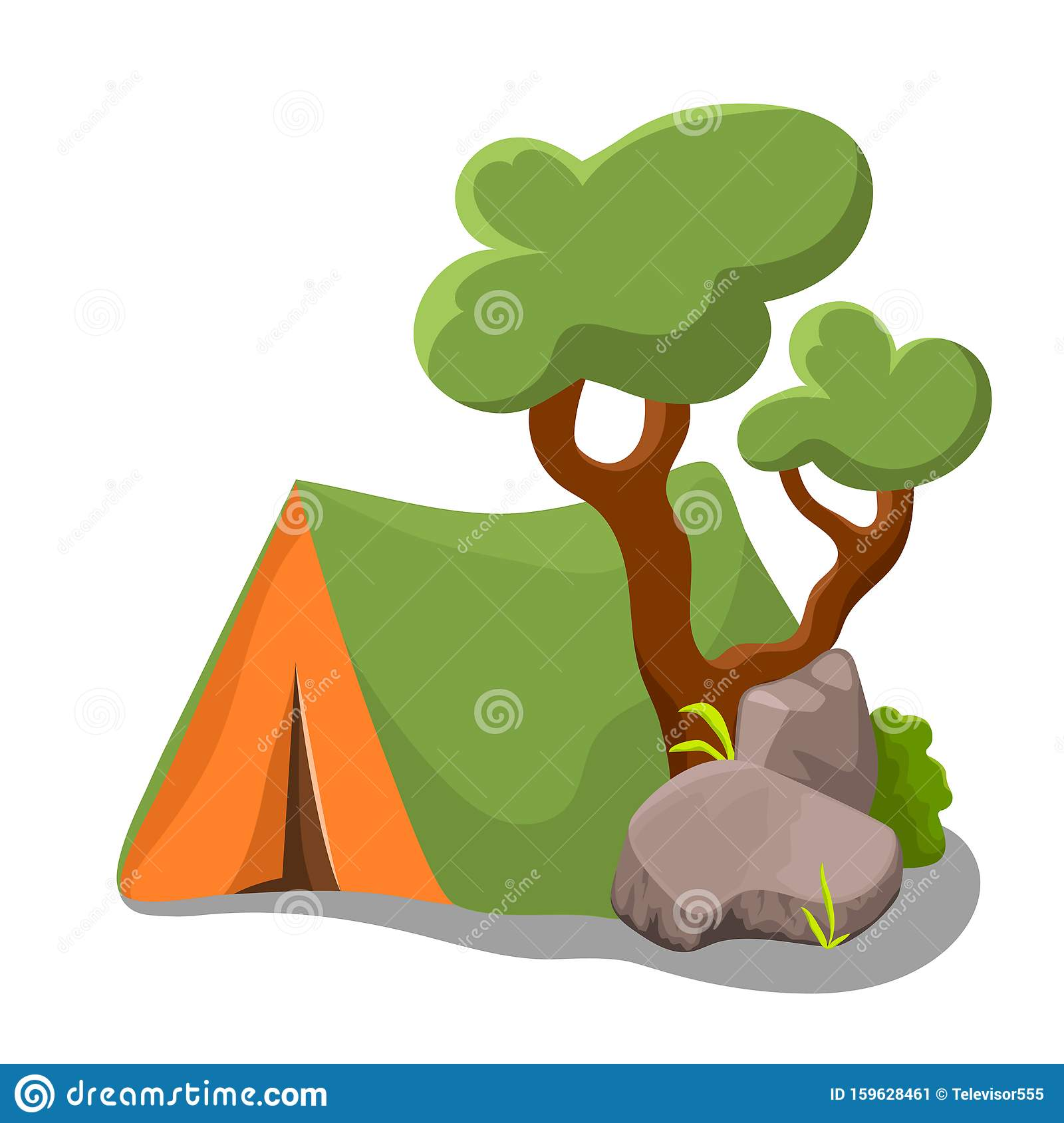 Camp Tent With Tree And Shrub On White Background. Summer ...