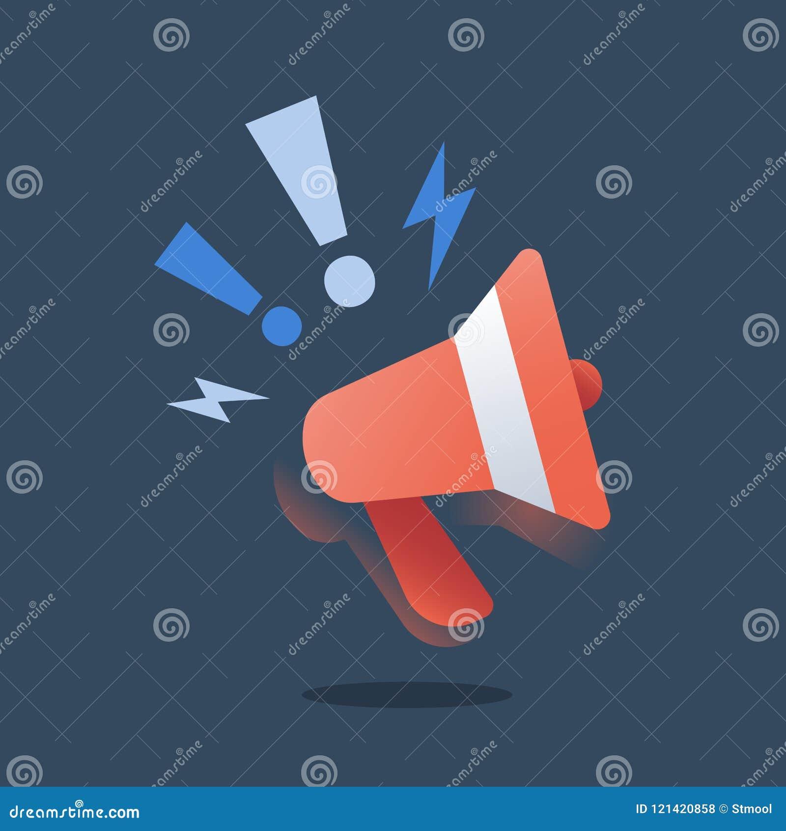 Campaña de promoción, márketing el extranjero, estrategia del smm, concepto de la publicidad, relaciones públicas, megáfono rojo,