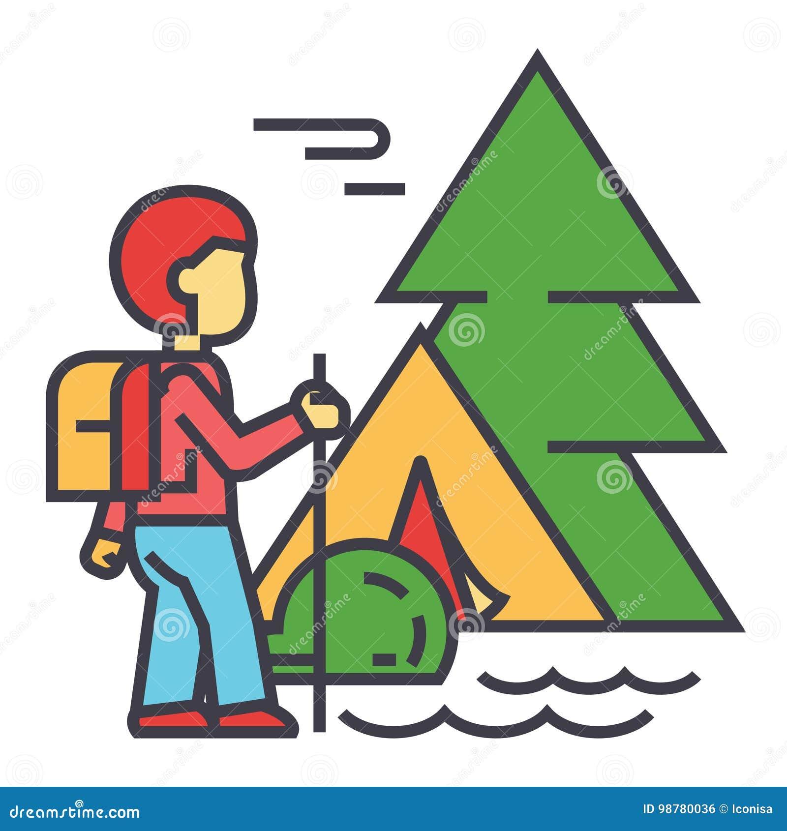 Campa handelsresande, turist som fotvandrar, berg, skogturbegrepp