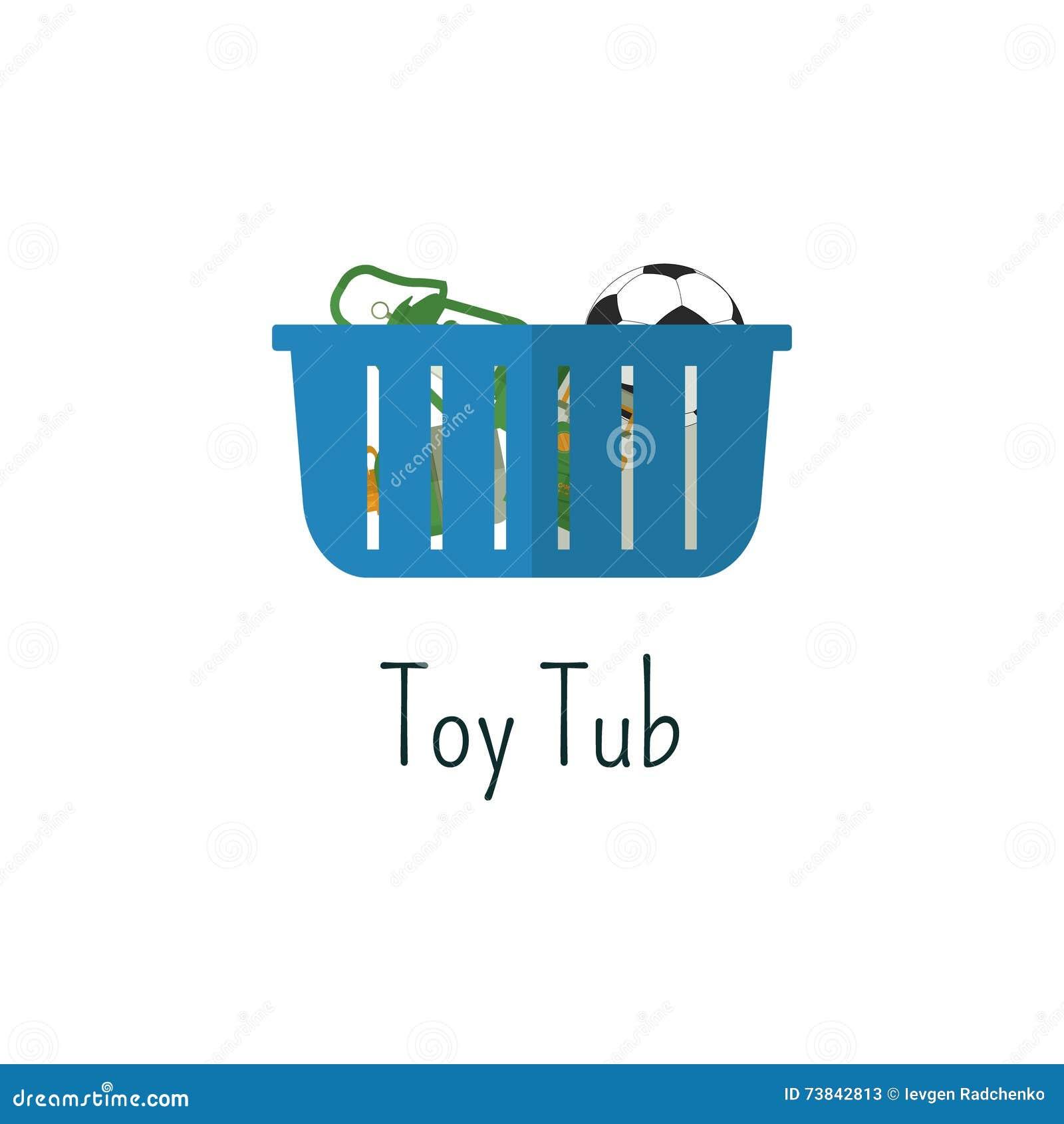 Campa leksaker badar den plana symbolen Isolerad färgpictogram för leksaker påse