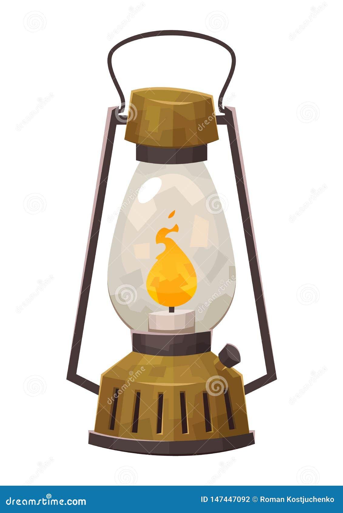 Campa lykta för tappning som isoleras på den retro gaslampan för vit bakgrund för att fotvandra