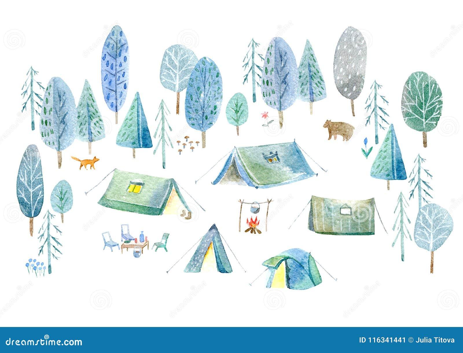 Campa trän Tält, träd, brasa, växter, räv, björn och blom-