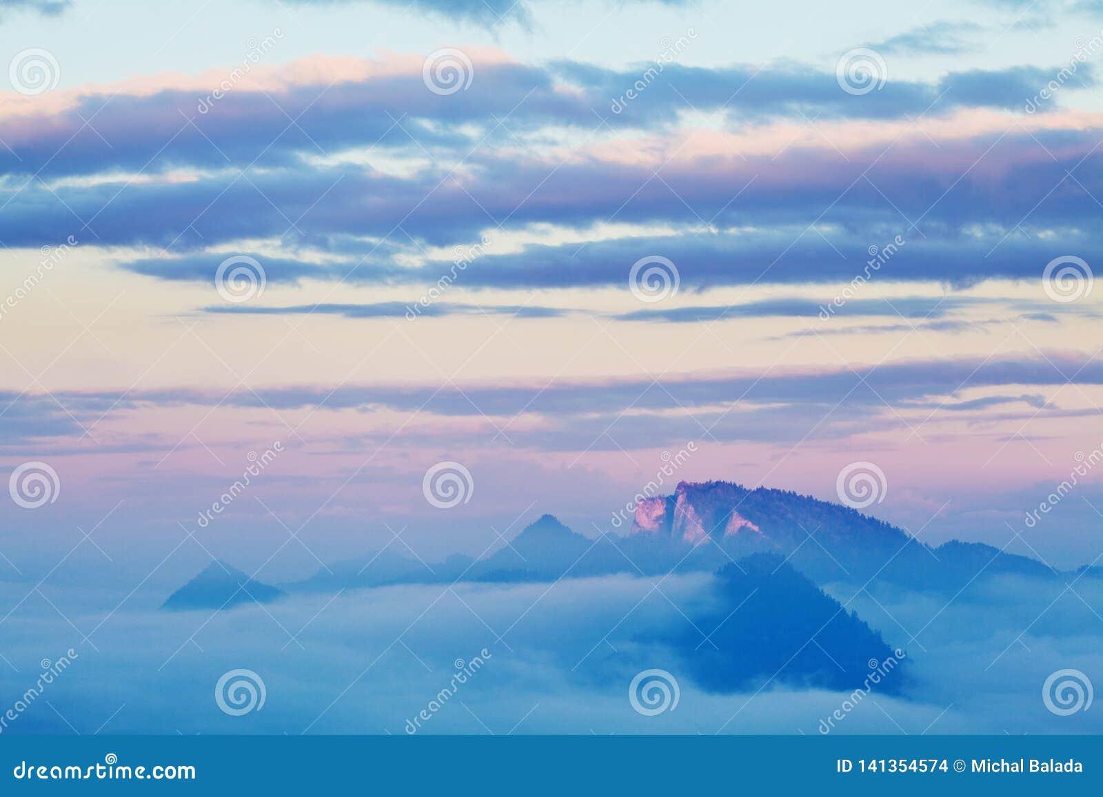 Campagna di rotolamento luminosa alla luce uguagliante Giorno pittoresco e scena splendida nel tempo di primavera Montagne carpat