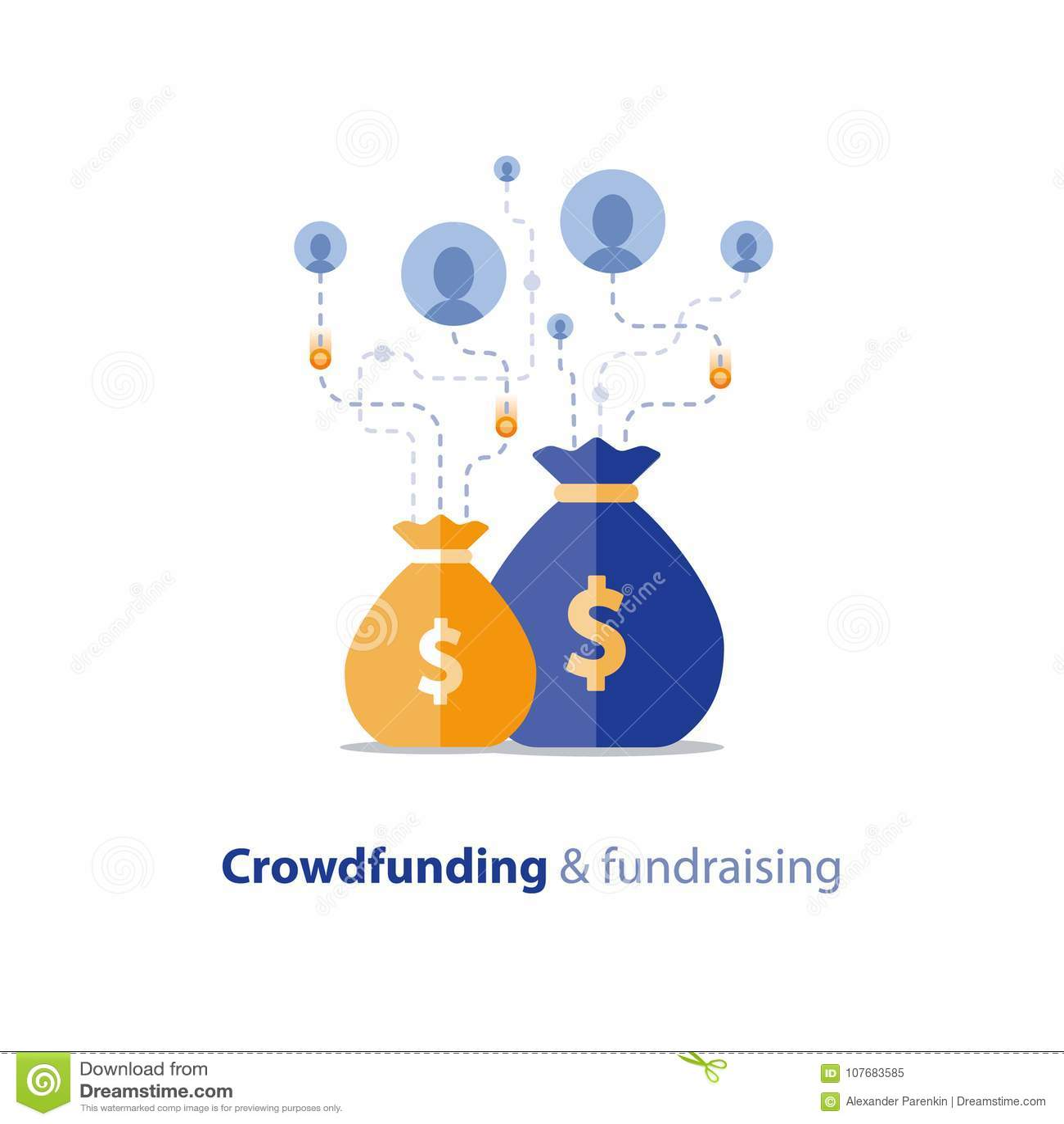Campagne de collecte de fonds, concept crowdfunding, donation de charité, illustration de vecteur