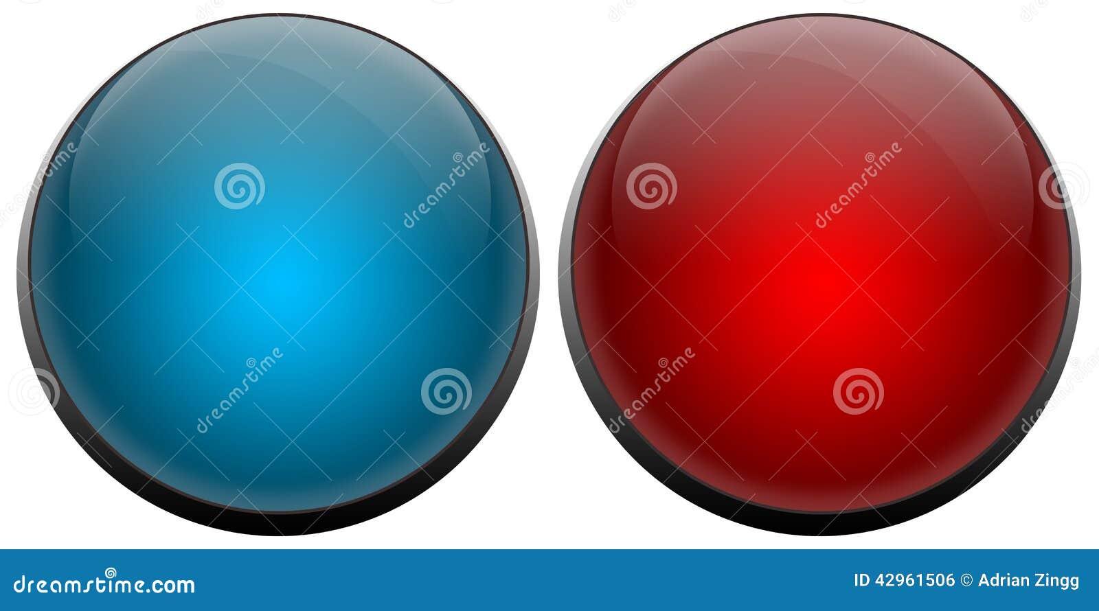 A campainha elétrica abotoa o vermelho e o azul