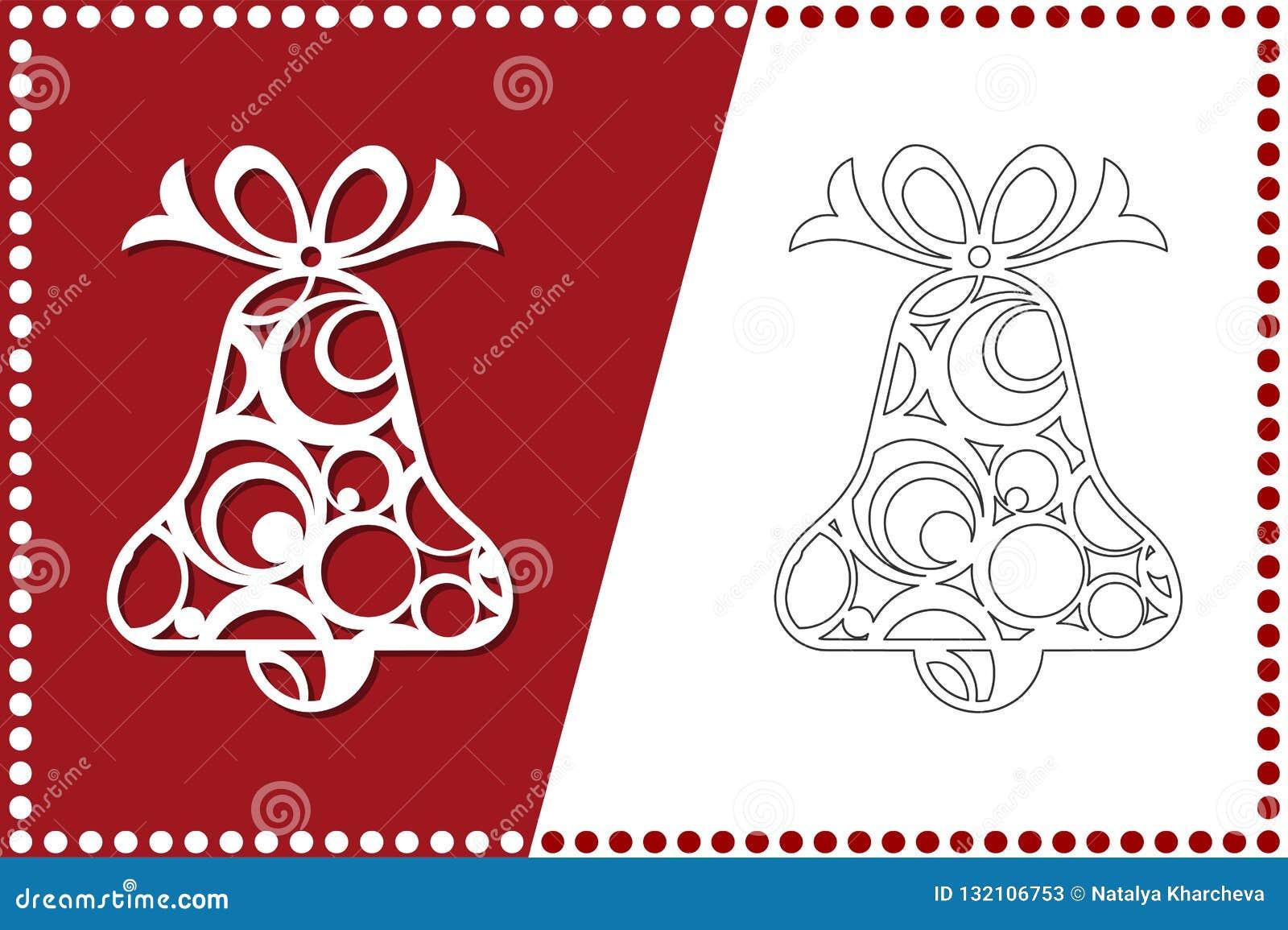 Campana de la Navidad moderna El juguete del Año Nuevo para el corte del laser Ilustración del vector