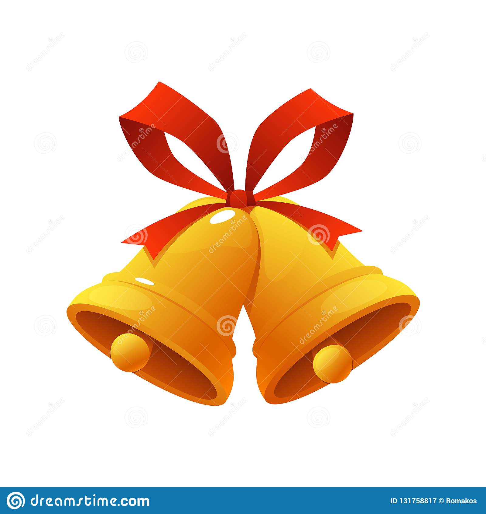 Campana di Natale dorata con l illustrazione rossa di vettore dell icona delle campane di tintinnio del nastro su fondo bianco